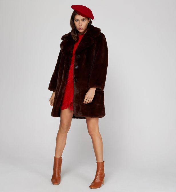 Manteau mi long effet fourrure zip The Kooples en coloris Marron XMUlv