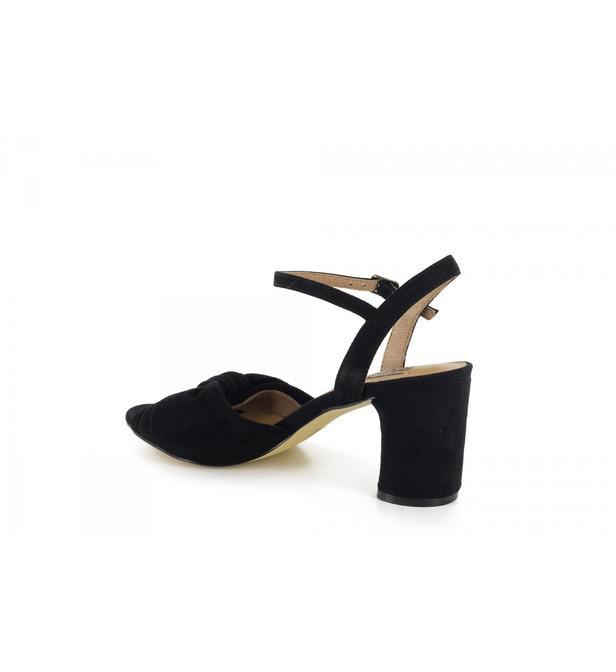 Sandales en cuir velours et à noeud Bibi Lou en coloris Noir