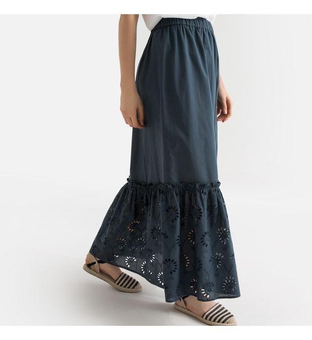 4957361e0a1750 Jupon long, base brodée . femme de coloris bleu