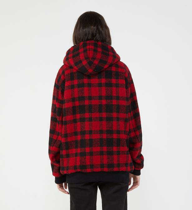 53718cd9ec23 The Kooples - Red Blouson en laine mélangée à carreaux doublure sherpa  Ligne Sport - Lyst. Afficher en plein écran