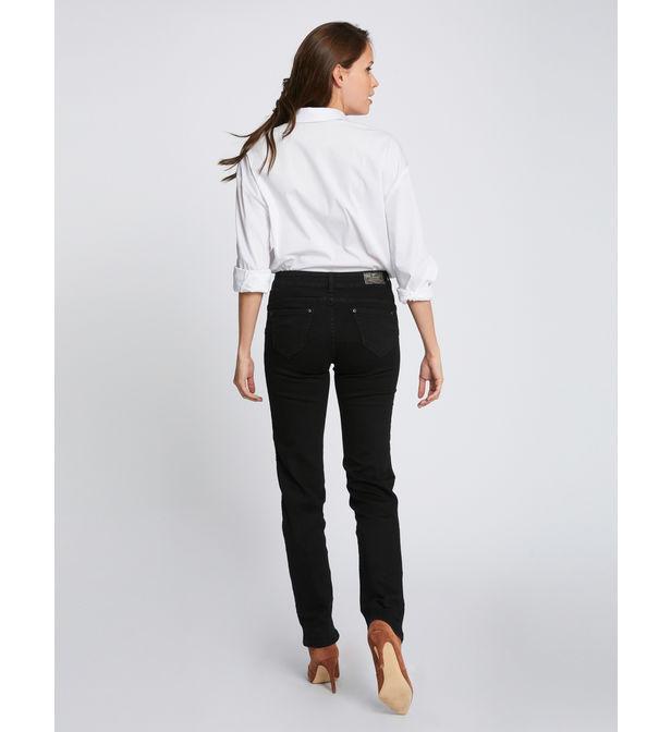 Jeans droit uni avec jacron effet python Jean Morgan en coloris Noir