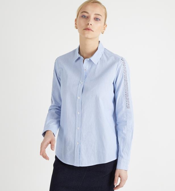 Chemise droite mi longue coton rayures IKKS en coloris Bleu
