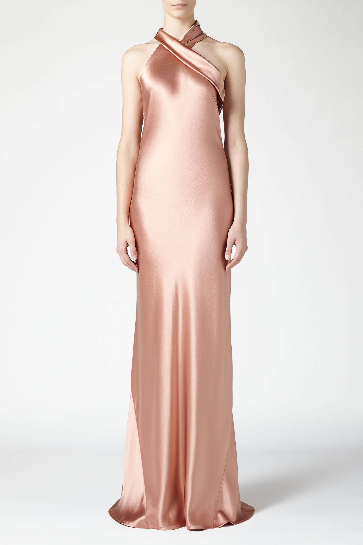 Lyst - Galvan Asymmetrical Silk Bias Cut Dress in Pink
