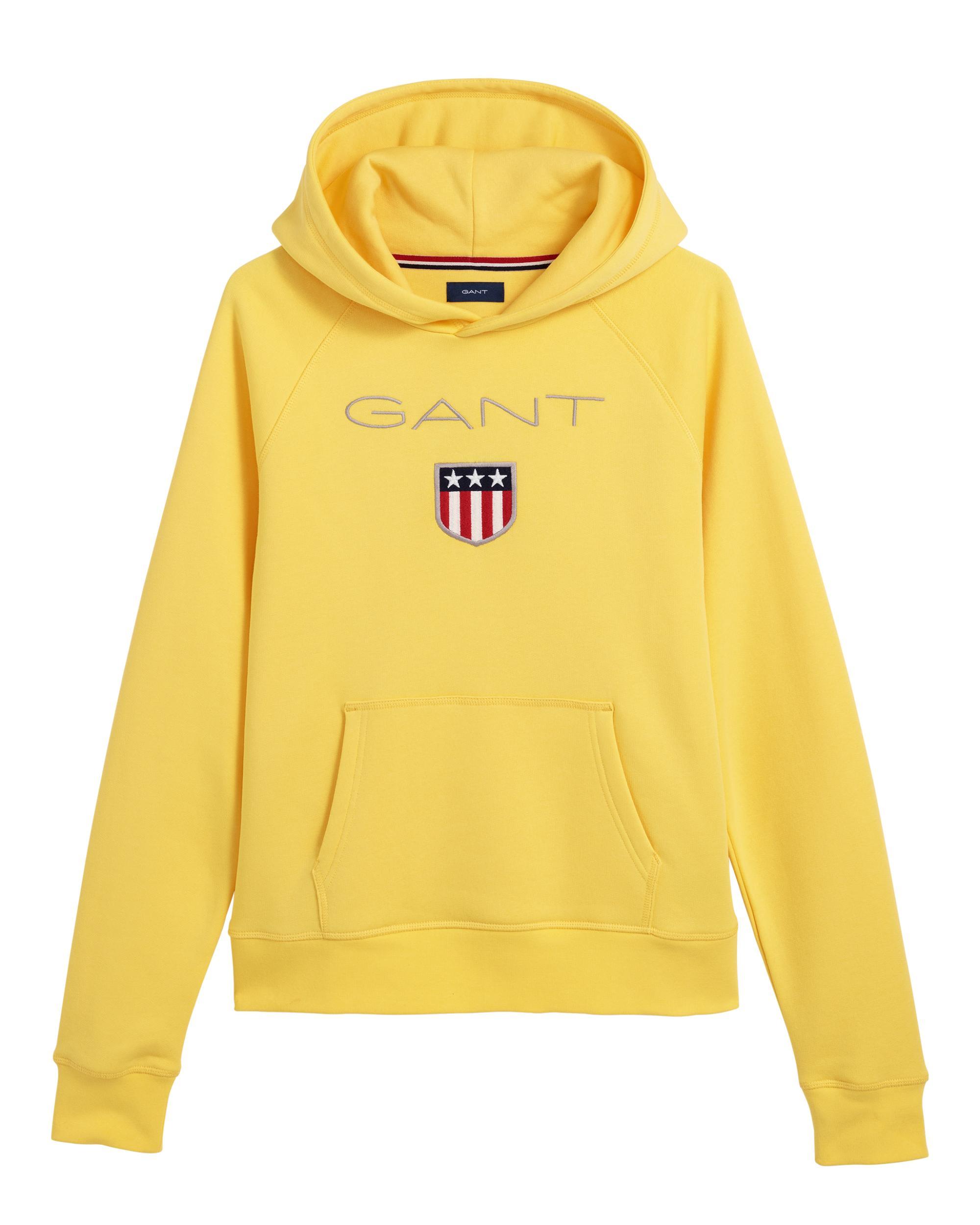 tankar på snabb leverans fantastiska besparingar GANT Cotton Teen Shield Sweat Hoodie in Yellow for Men - Lyst