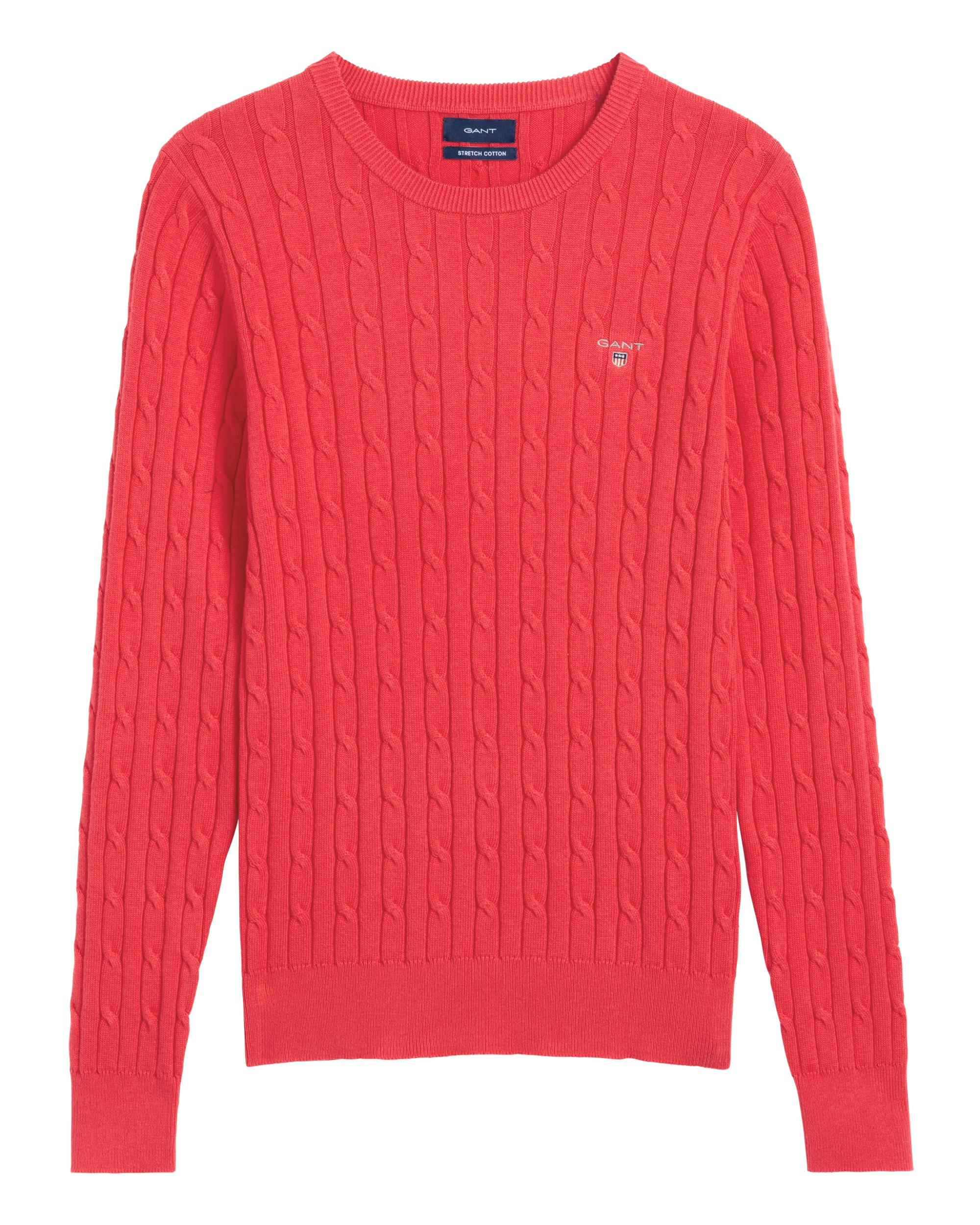Gant Stretch Cotton Cable Crew Sweater in Red - Lyst 4e7ecbfb19fb