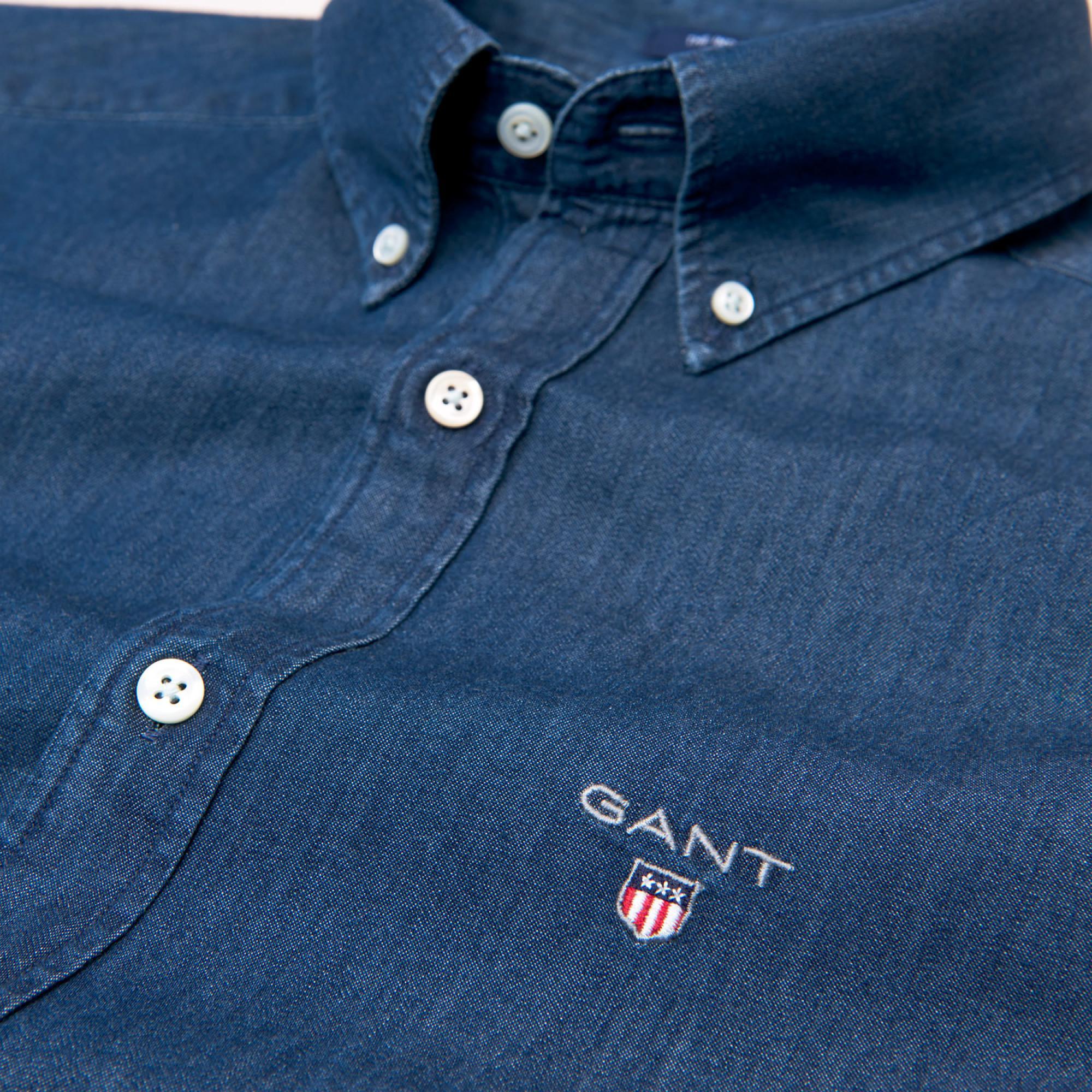 62328ac92b4 Gant - Blue Slim Indigo Shirt for Men - Lyst. View fullscreen