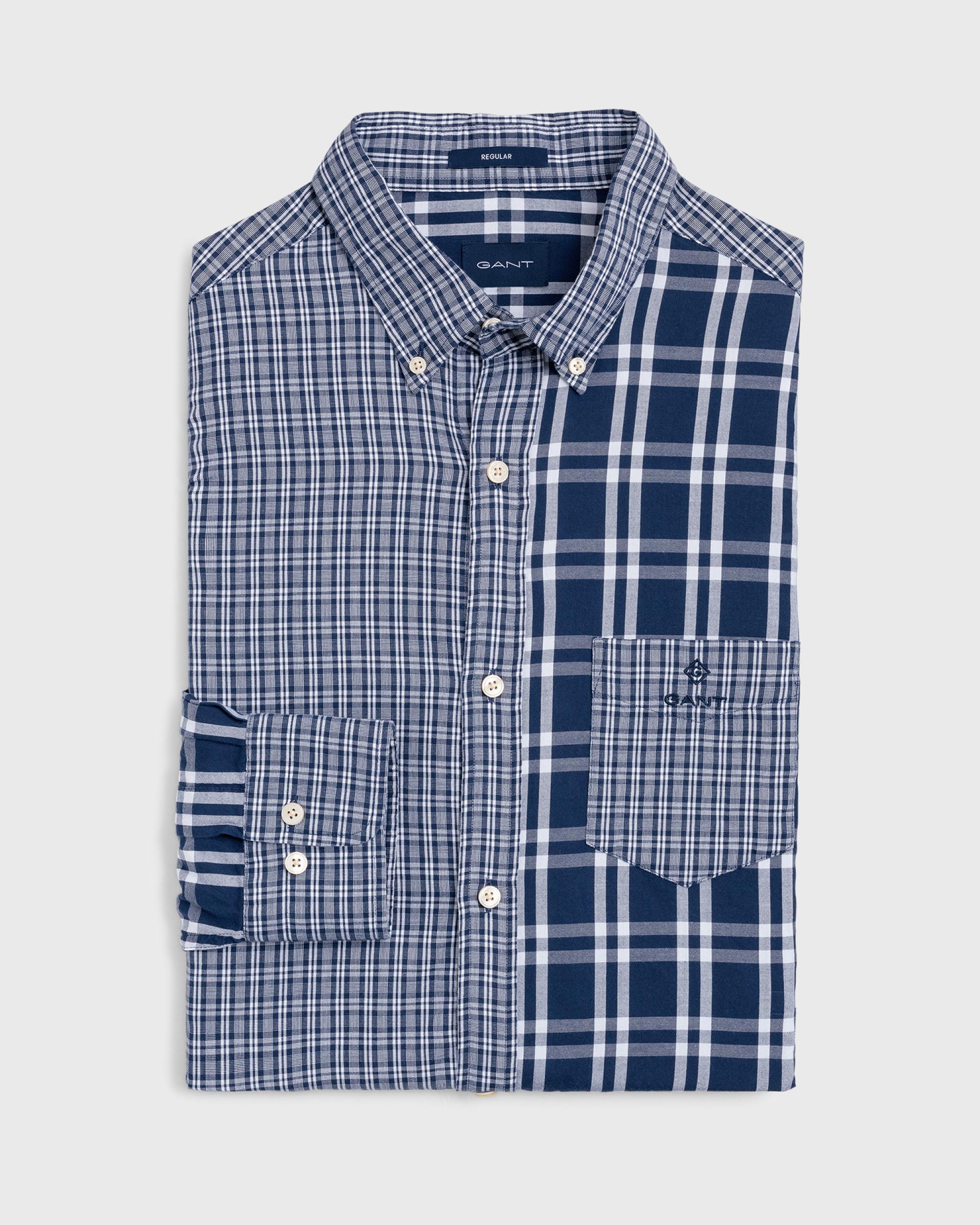 01013ff7065 Gant - Blue Regular Fit Windblown Oxford Panels Shirt for Men - Lyst. View  fullscreen