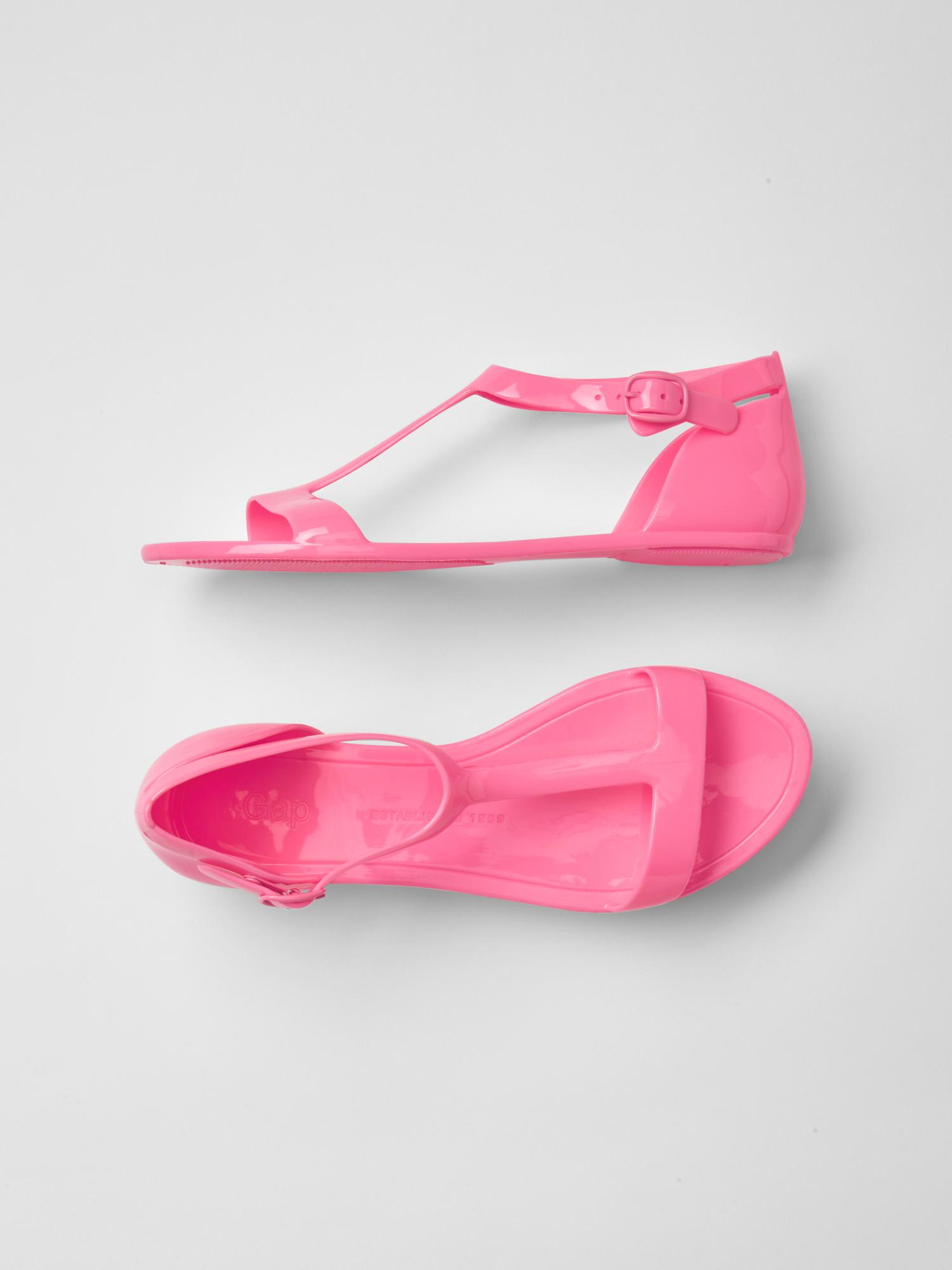gap glitter t jelly sandals in pink neon impulsive