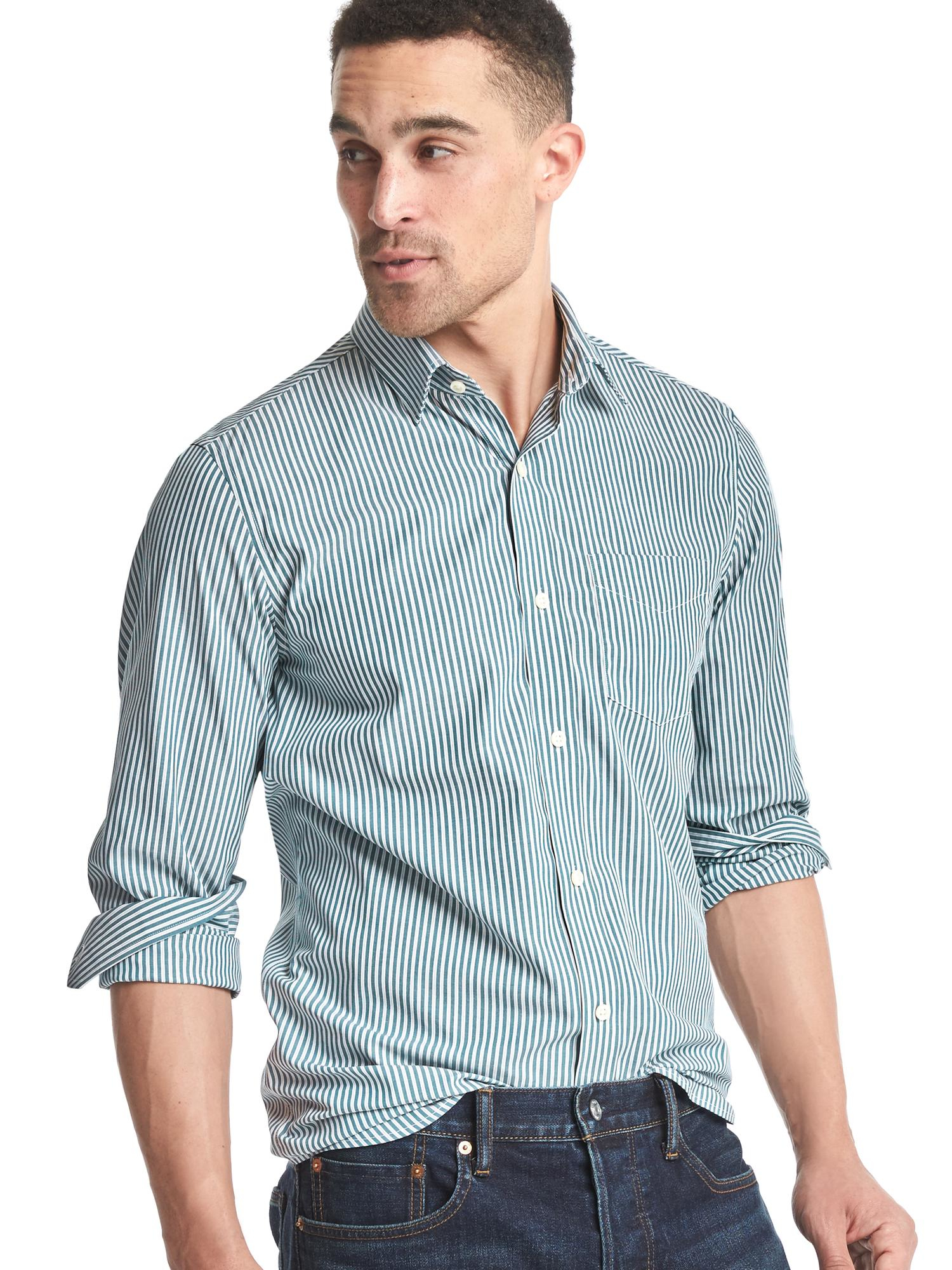 Gap wrinkle resistant stripe standard fit shirt in blue for Wrinkle resistant dress shirts