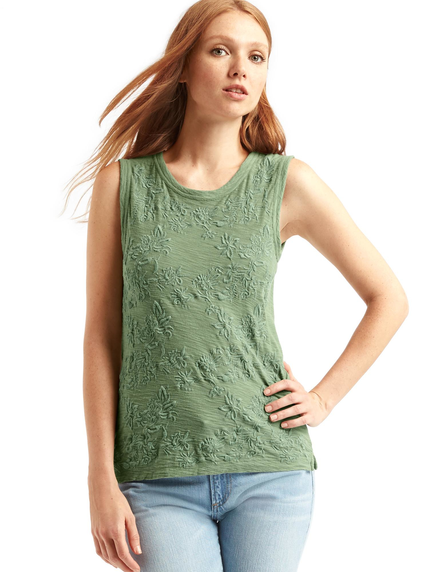Gap embroidered muscle tank in blue twig lyst