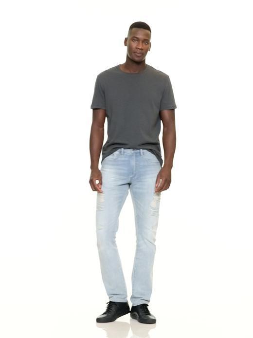 Gap Denim Lightweight Destructed Slim Fit Jeans (stretch) in Blue for Men