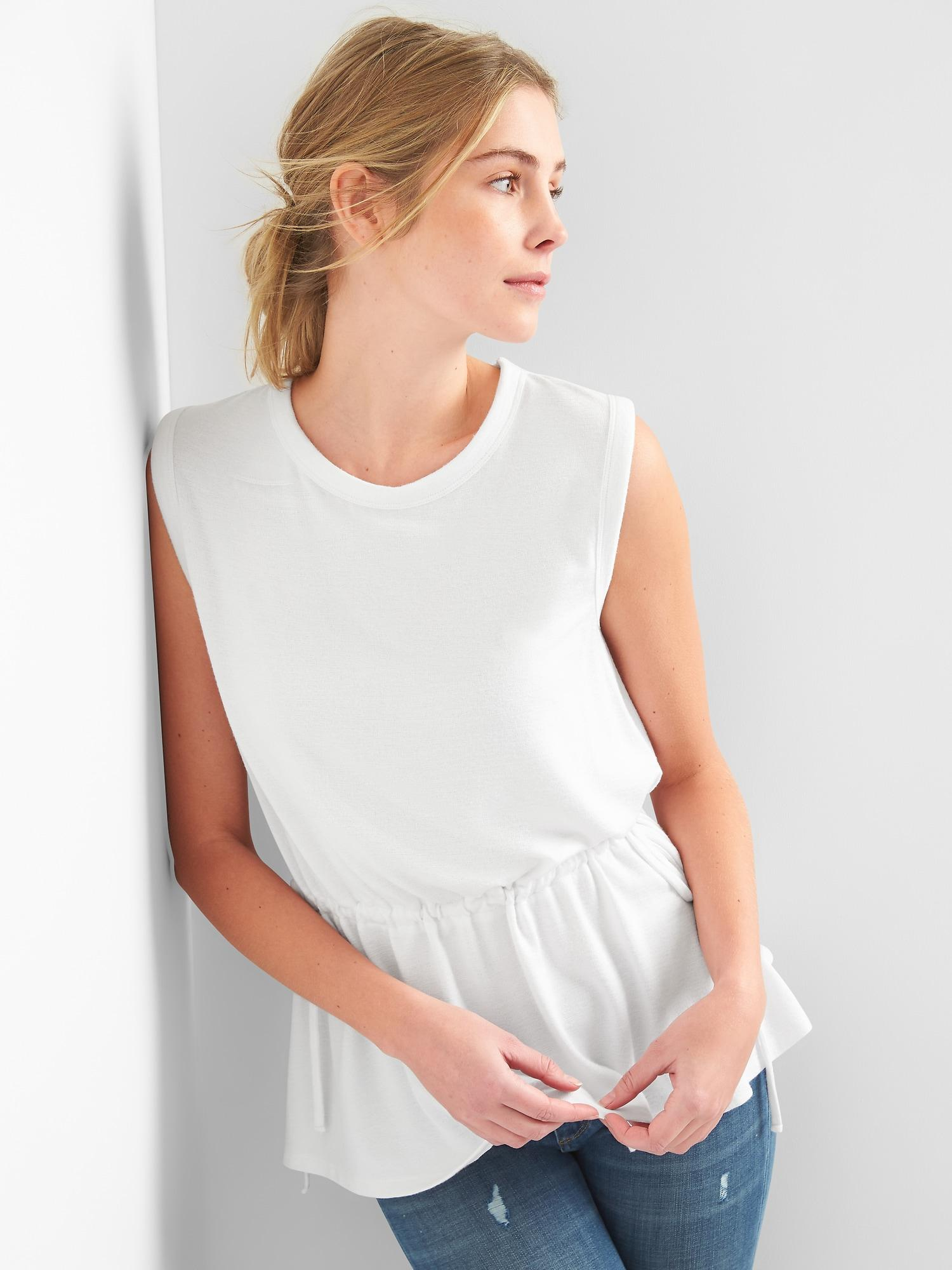 25408b99299d5 Lyst - Gap Softspun Sleeveless Tie-waist Top in White