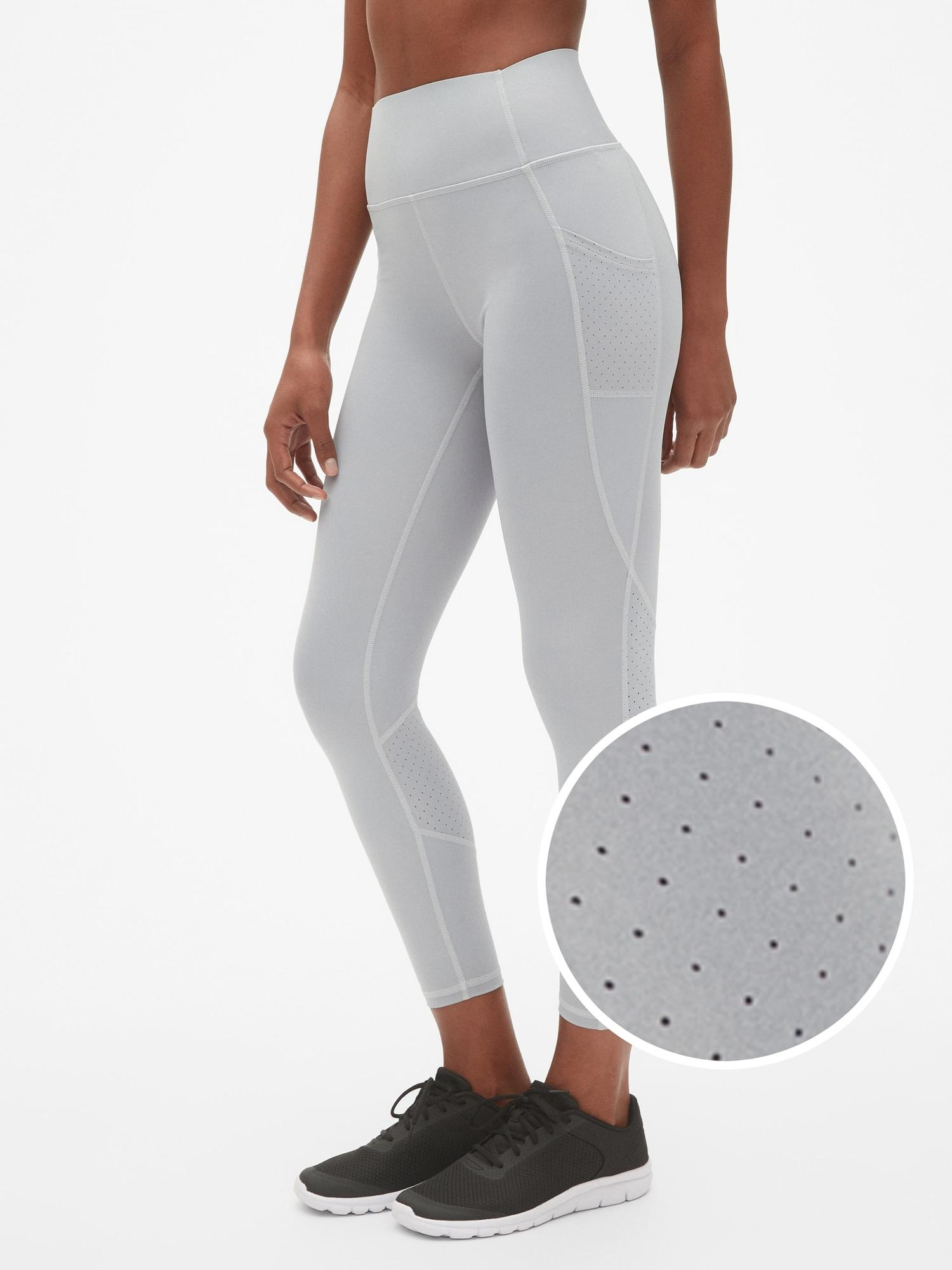 96c9b66119788 Gap. Women's Gray Fit High Rise Perforated Pocket 7/8 Leggings ...