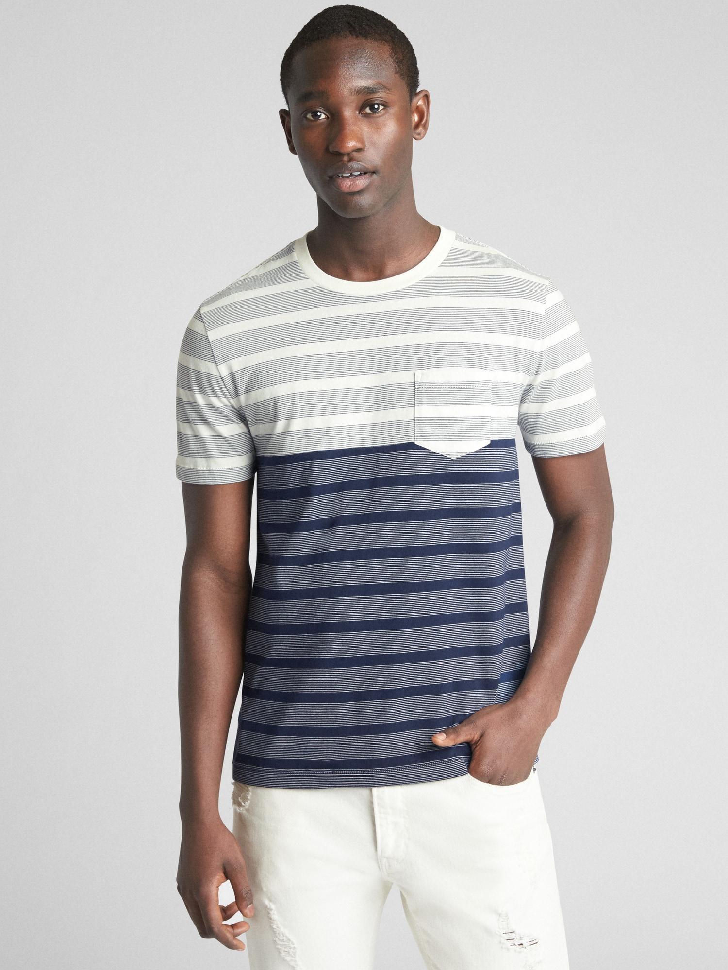 8c835c22403 Lyst - Gap Stripe Pocket T-shirt in Blue for Men