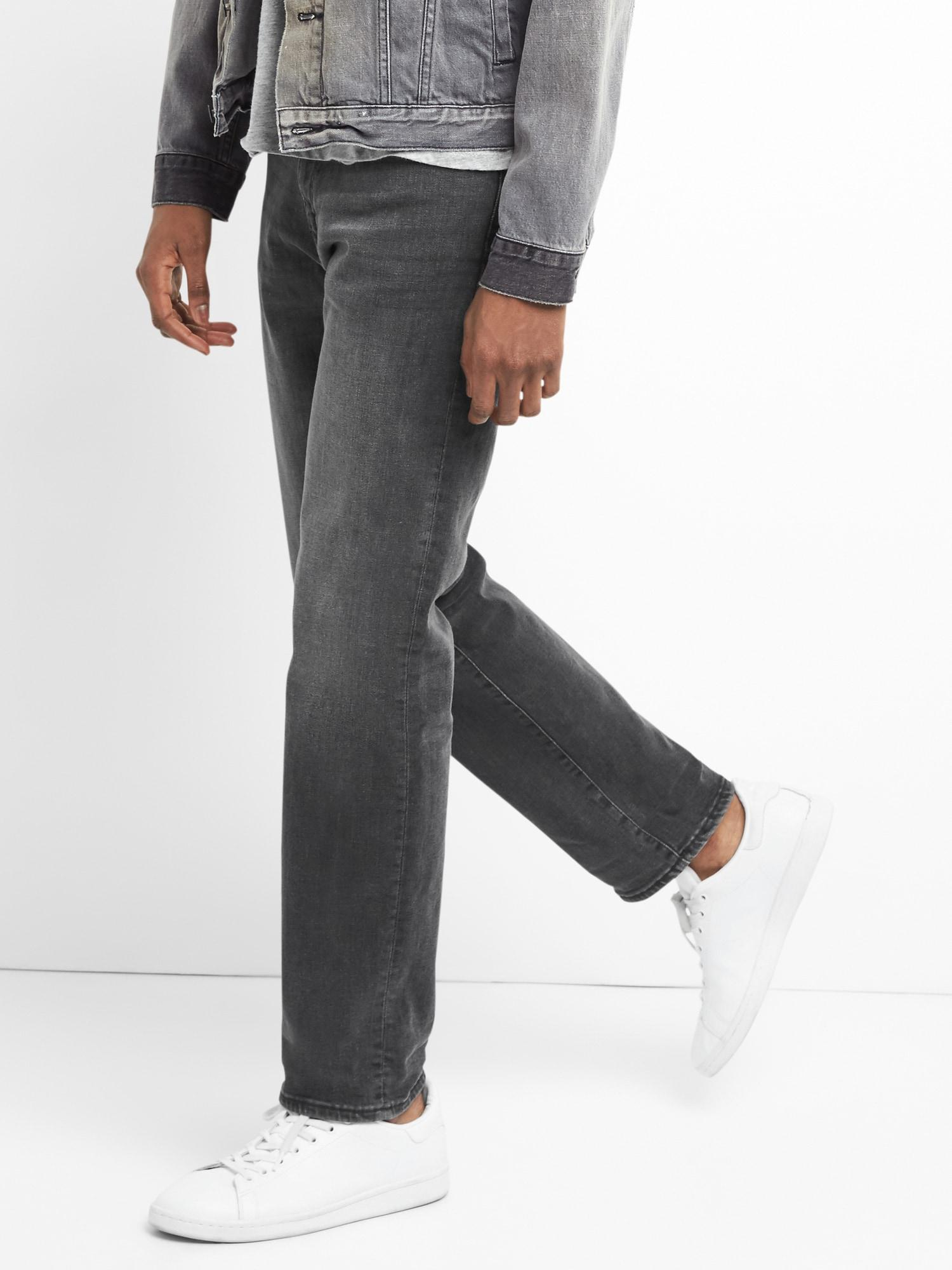 44d40b7d57a73 Lyst - Gap Washwell Jeans In Slim Straight Fit With Flex in Black ...