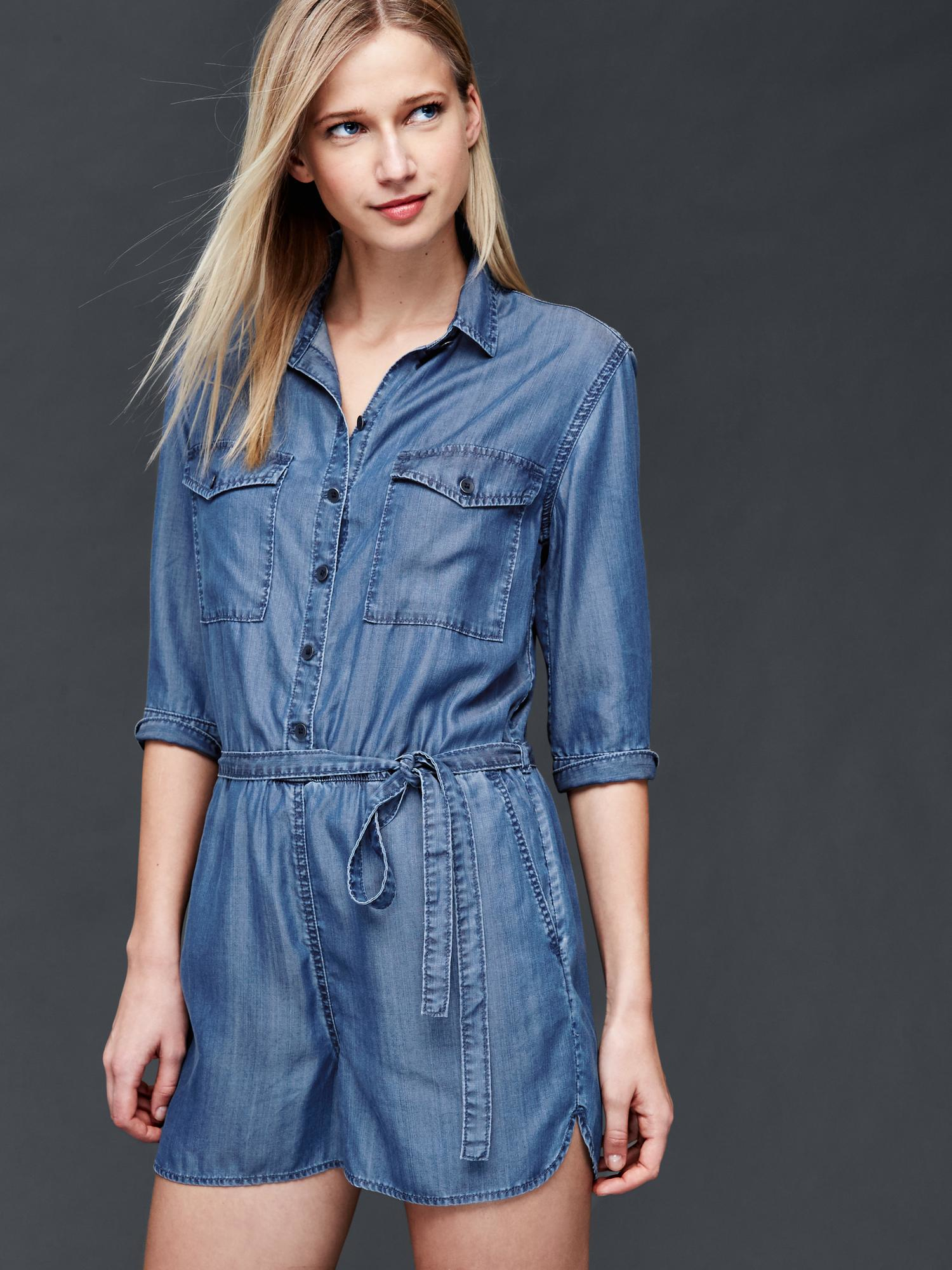 3d1cbd1d9dfb Gap 1969 Tencel® Denim Shirt Romper in Multicolor (MEDIUM .