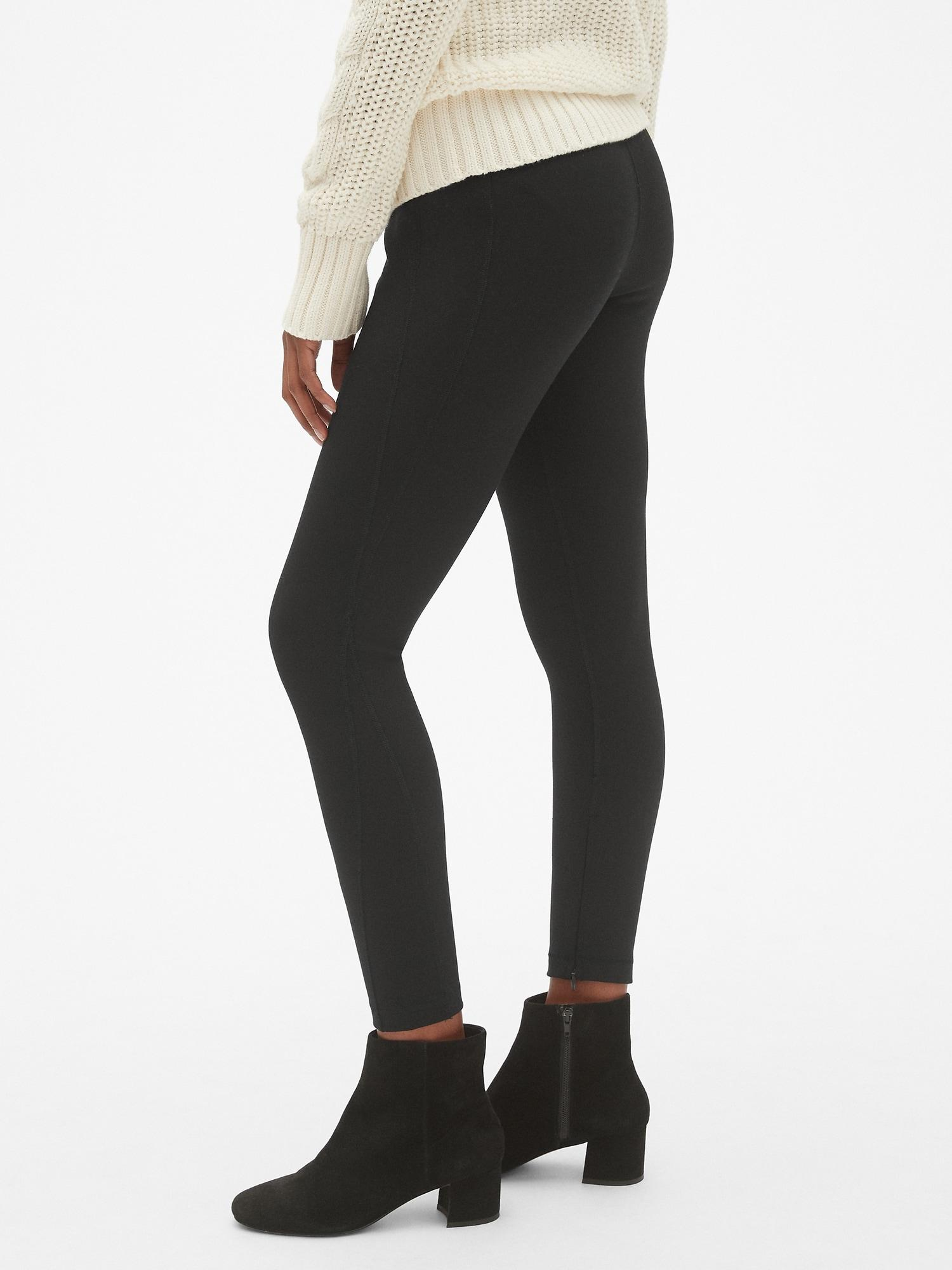 4335e97098 Lyst - Gap Sculpt High Rise Ankle-zip Leggings In Ponte in Black ...