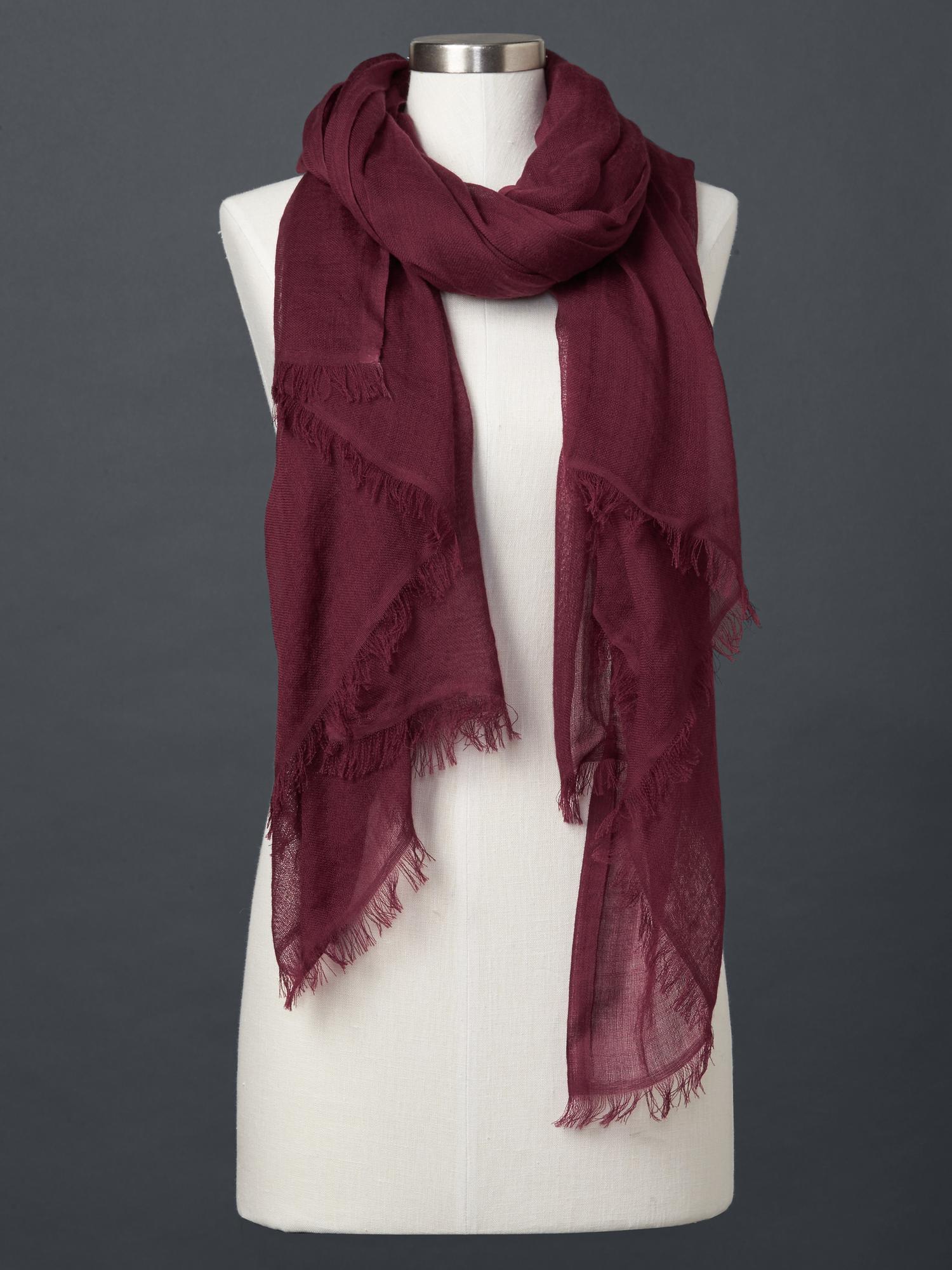 gap wool solid scarf in purple burgundy lyst