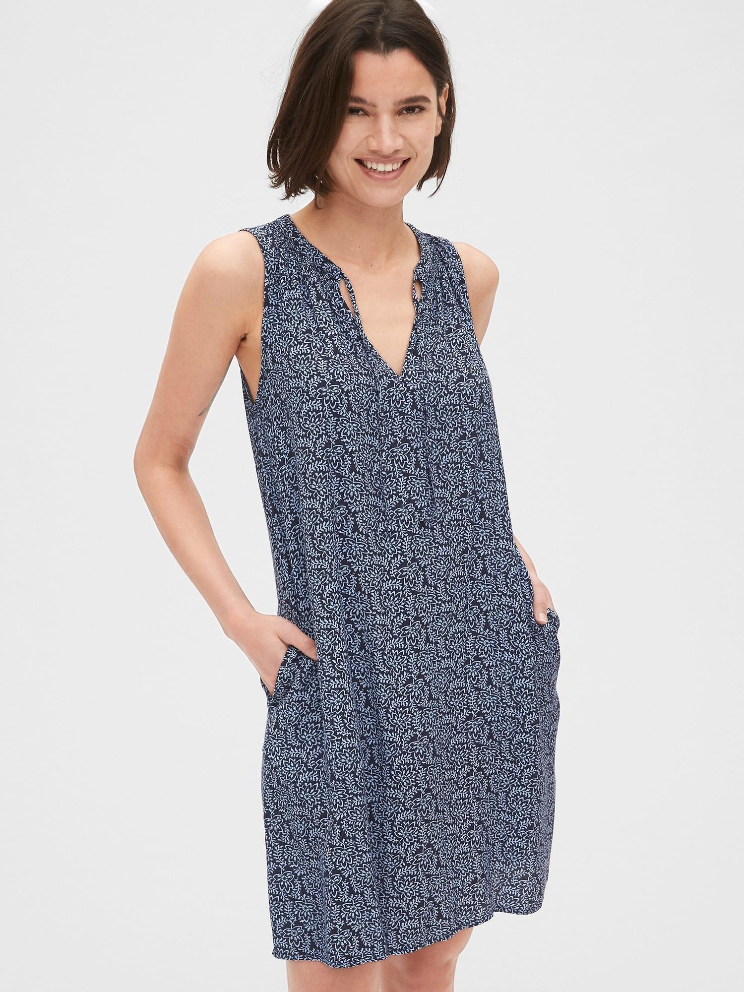 cfdb3ea27a9ea Lyst - Gap Print Sleeveless Tie-neck Swing Dress in Blue