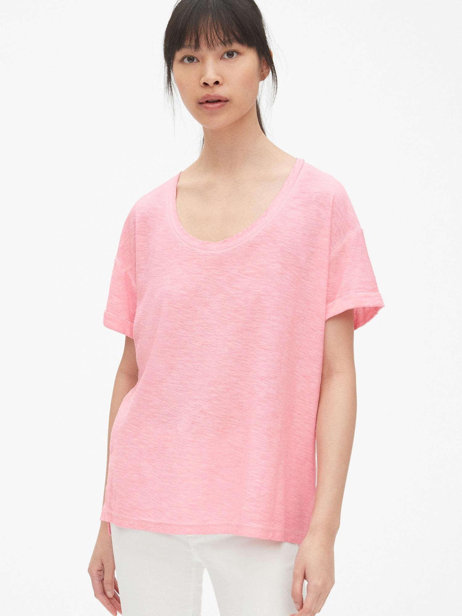 fe8f9e1ee Lyst - Gap Soft Slub Relaxed Crewneck T-shirt in Pink