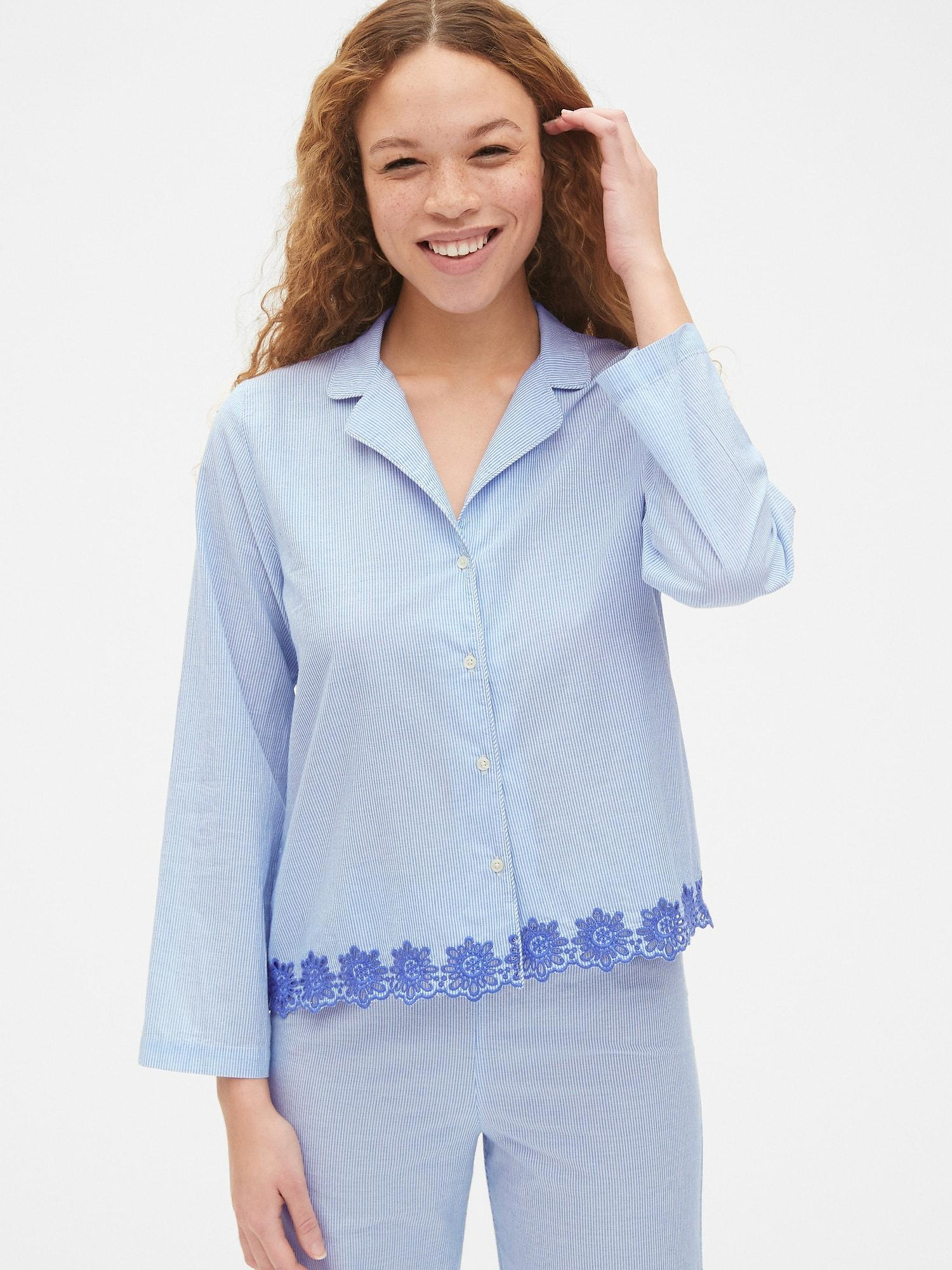 2961012d048b Lyst - Gap Dreamwell Long Sleeve Stripe Top With Embroidered Detail ...