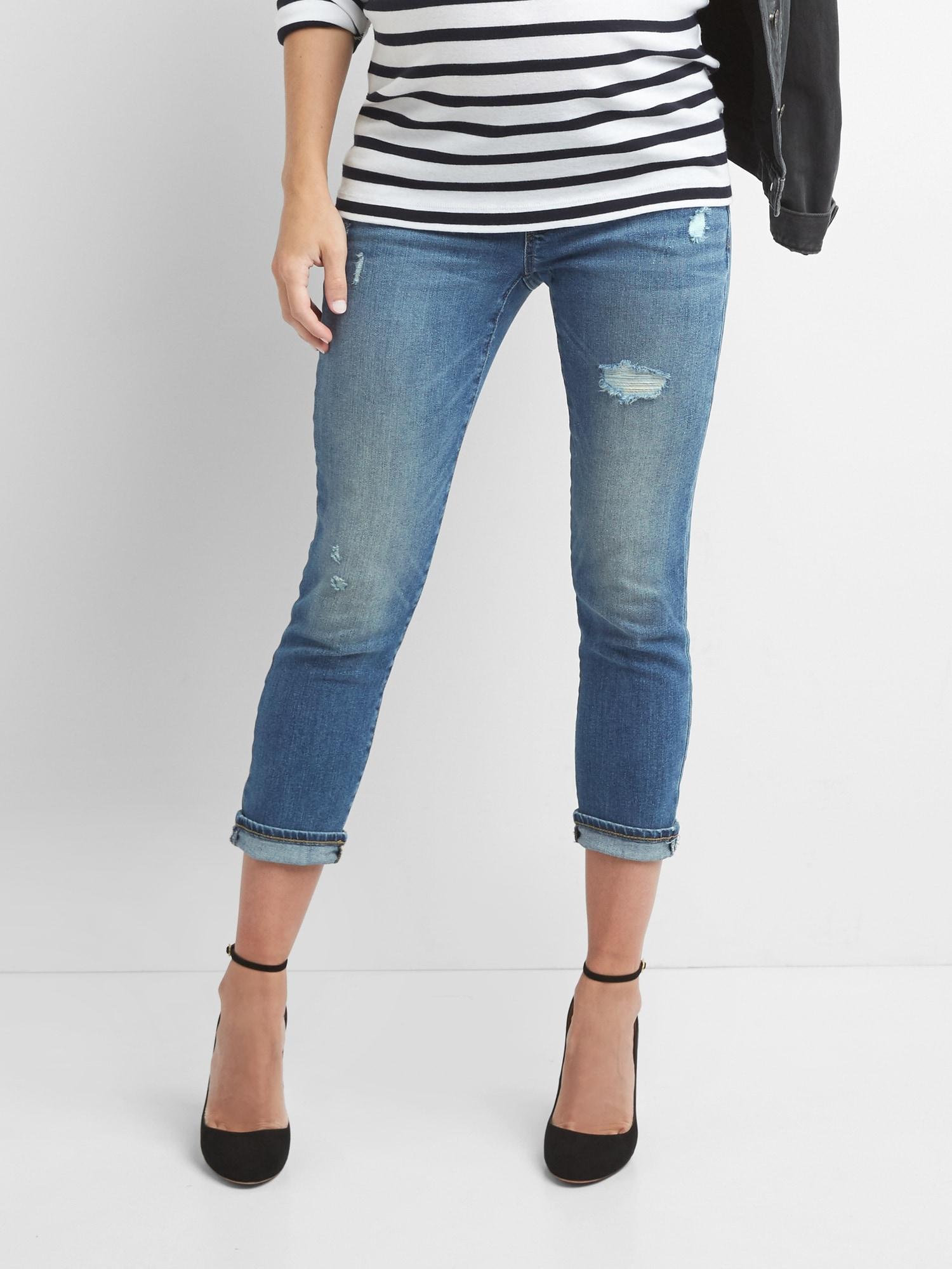 d021404b05bd4 Gap Maternity Demi Panel Distressed Best Girlfriend Jeans in Blue - Lyst