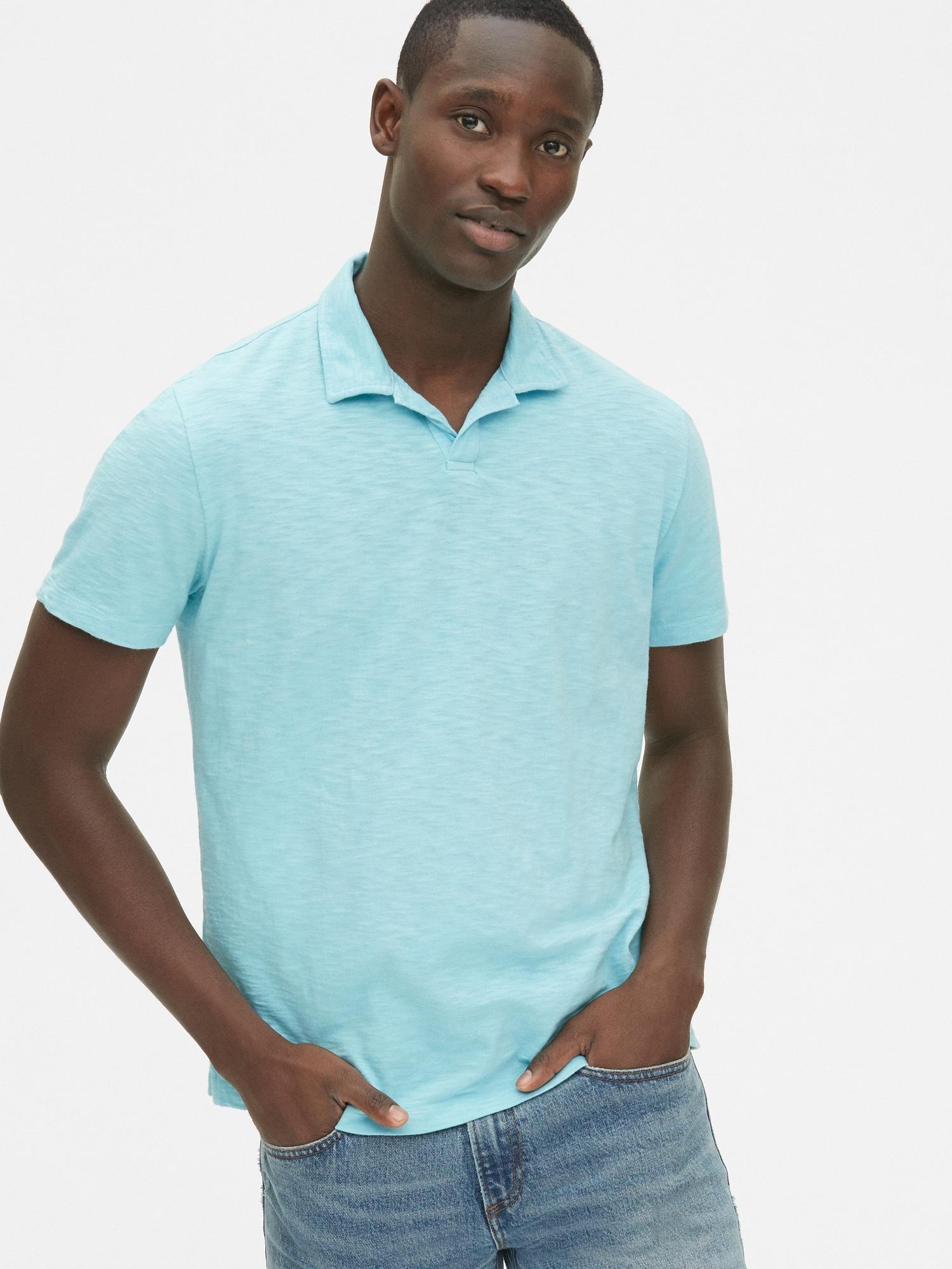 db0e1df19 Lyst - Gap Slub Jersey Polo Shirt in Blue for Men