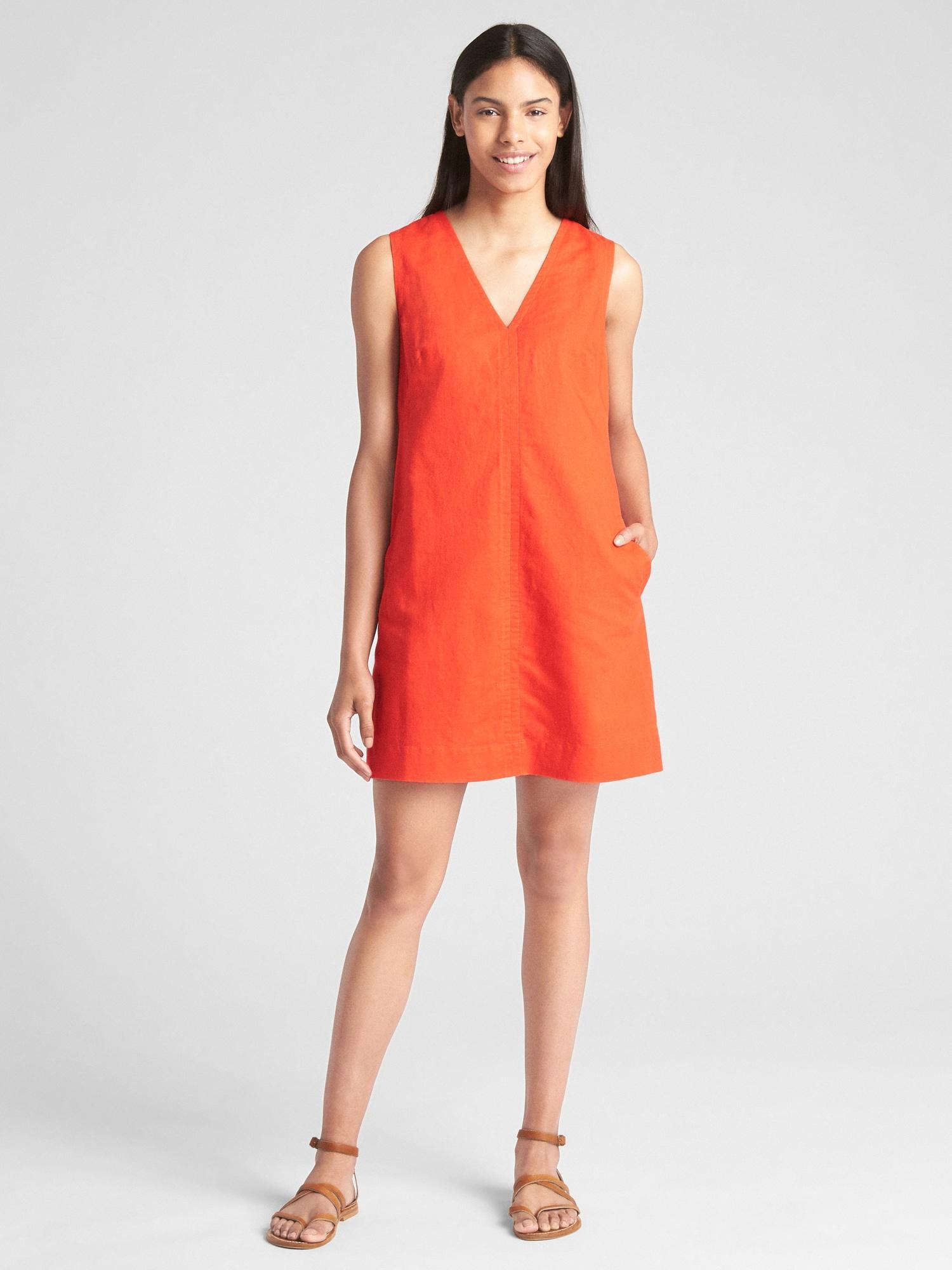 b8836c66a76 Gap Orange Sleeveless V-neck Stripe Shift Dress In Linen-cotton