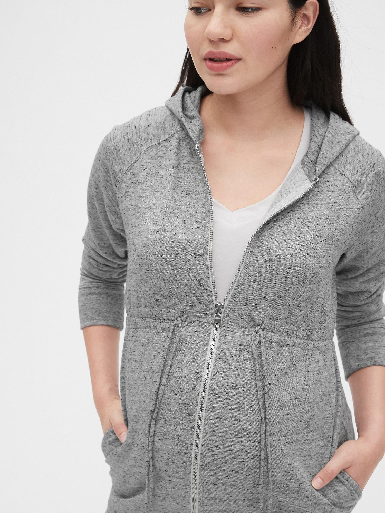 Gap Fleece Maternity Cinched Zip Hoodie In Grey Gray Lyst