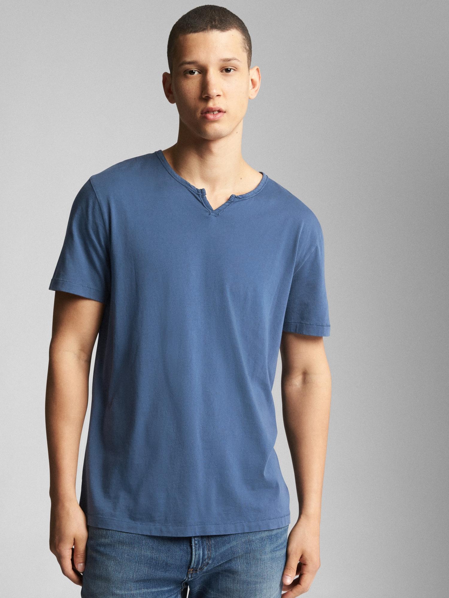 ac31333d69 Lyst - Gap Essential Short Sleeve Notch T-shirt in Blue for Men