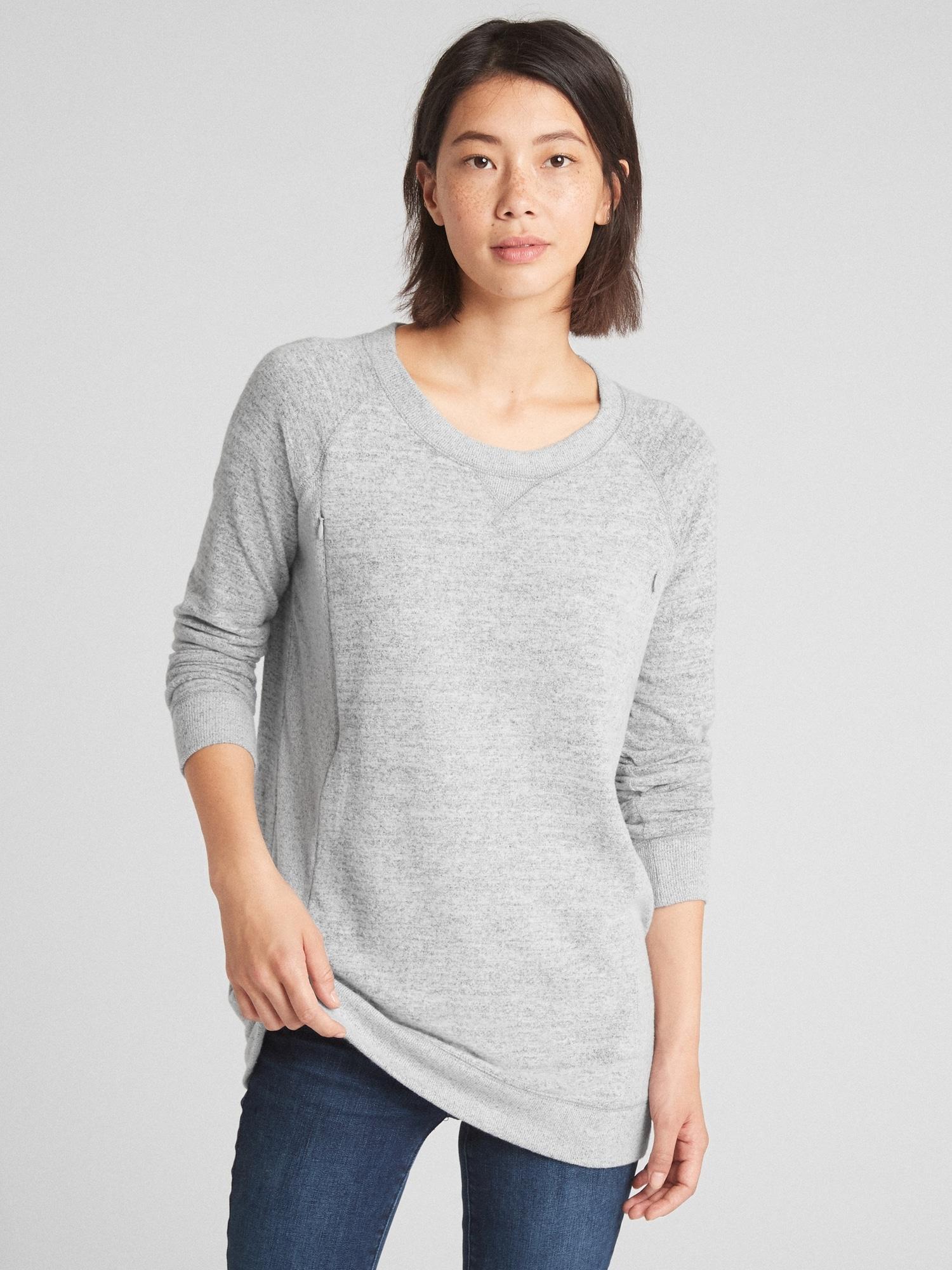 Lyst - Gap Maternity Marled Nursing Pullover Sweatshirt in Gray f1f0c2a0e