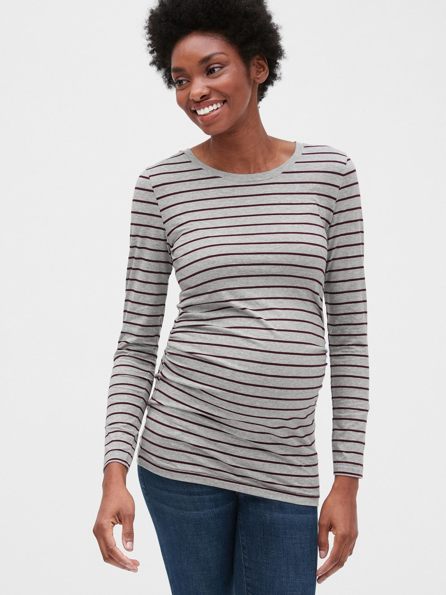 c5a8d2f0b553 ... Maternity Pure Body Stripe Long Sleeve Crewneck T-shirt - Lyst. View  fullscreen
