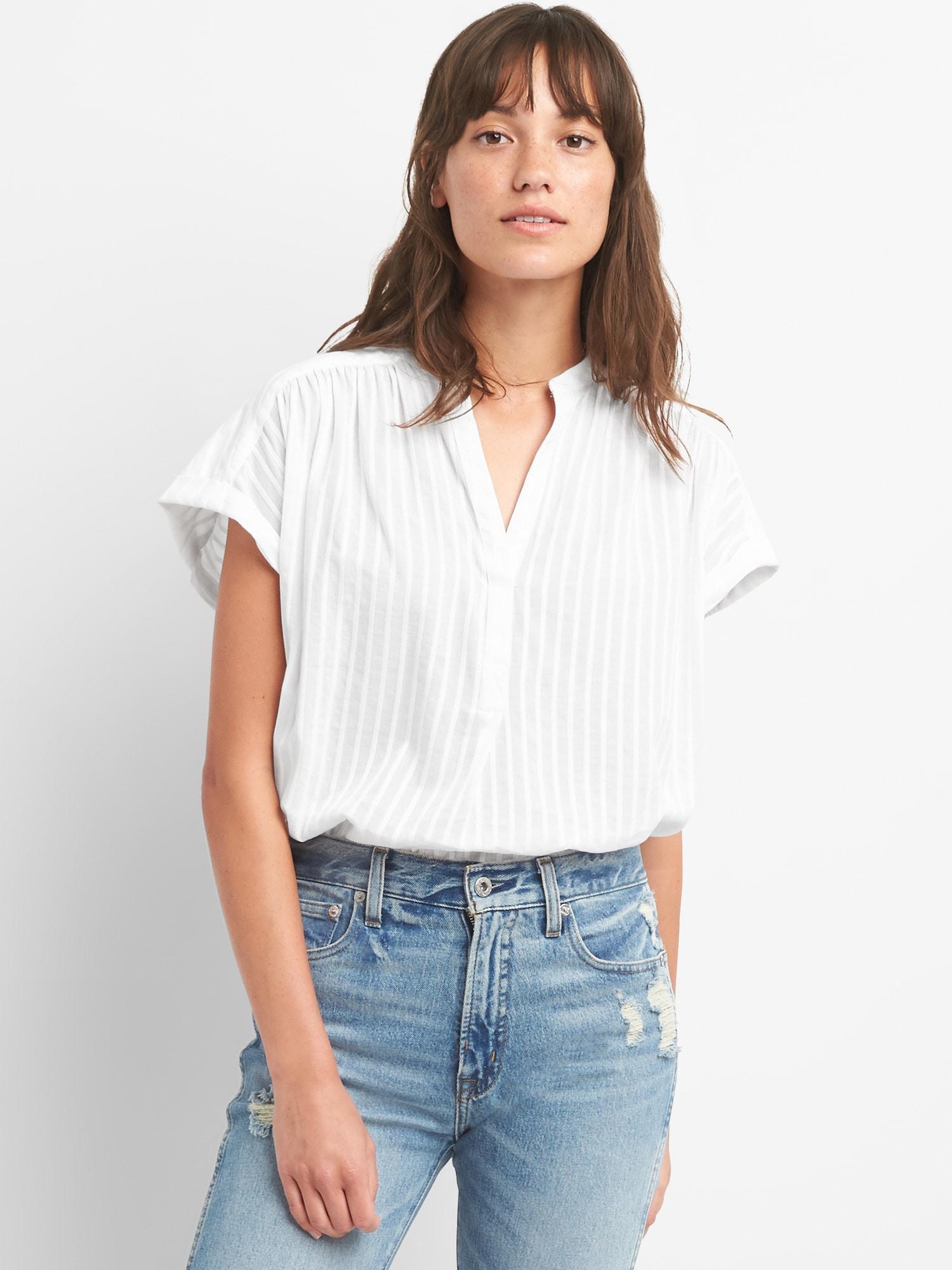 1142da44fe18e Lyst - Gap Short Sleeve Popover Shirt In Stripe Dobby in White