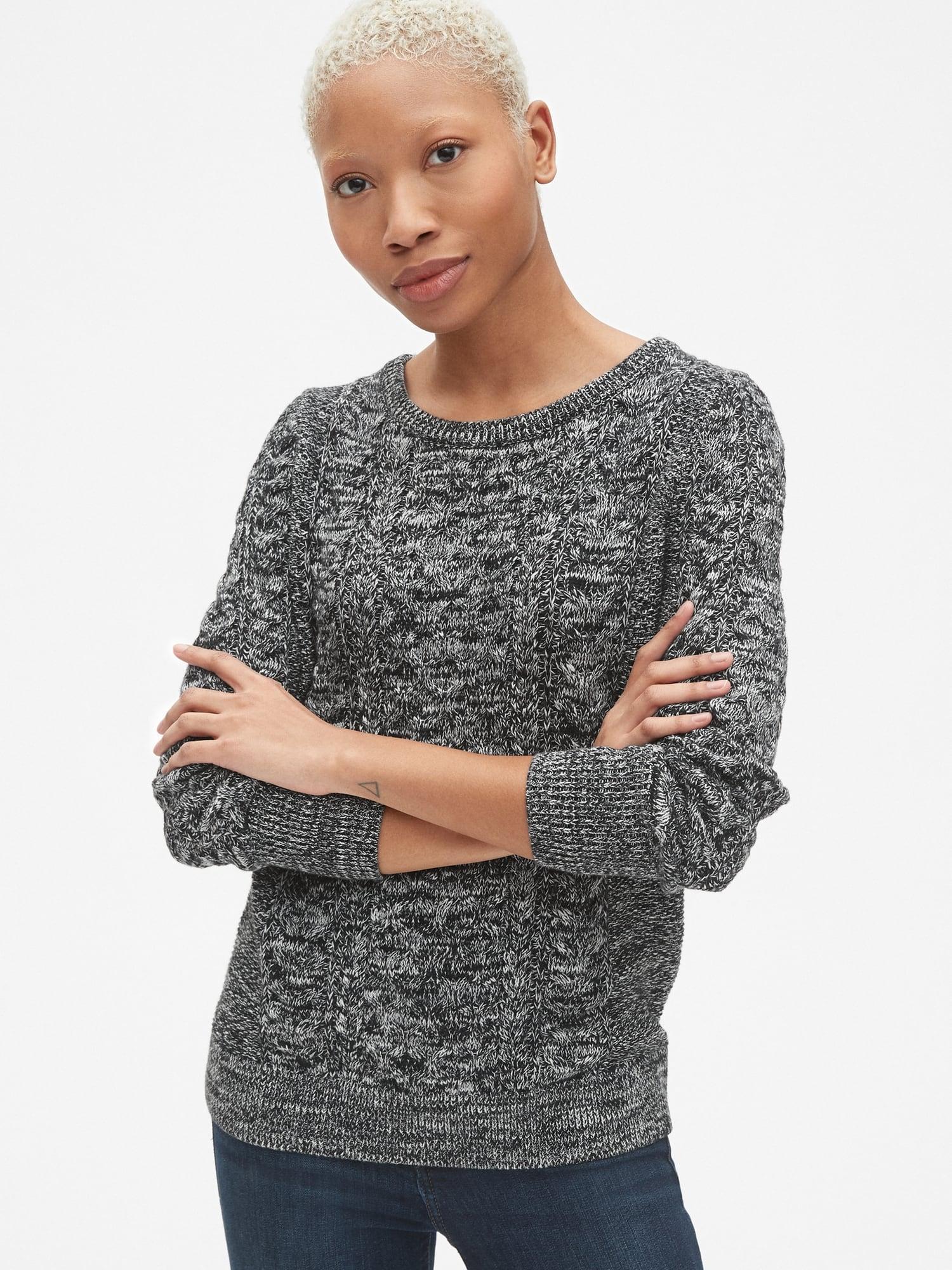 de70d8cd5 Lyst - Gap Cable-knit Crewneck Pullover Sweater in Black