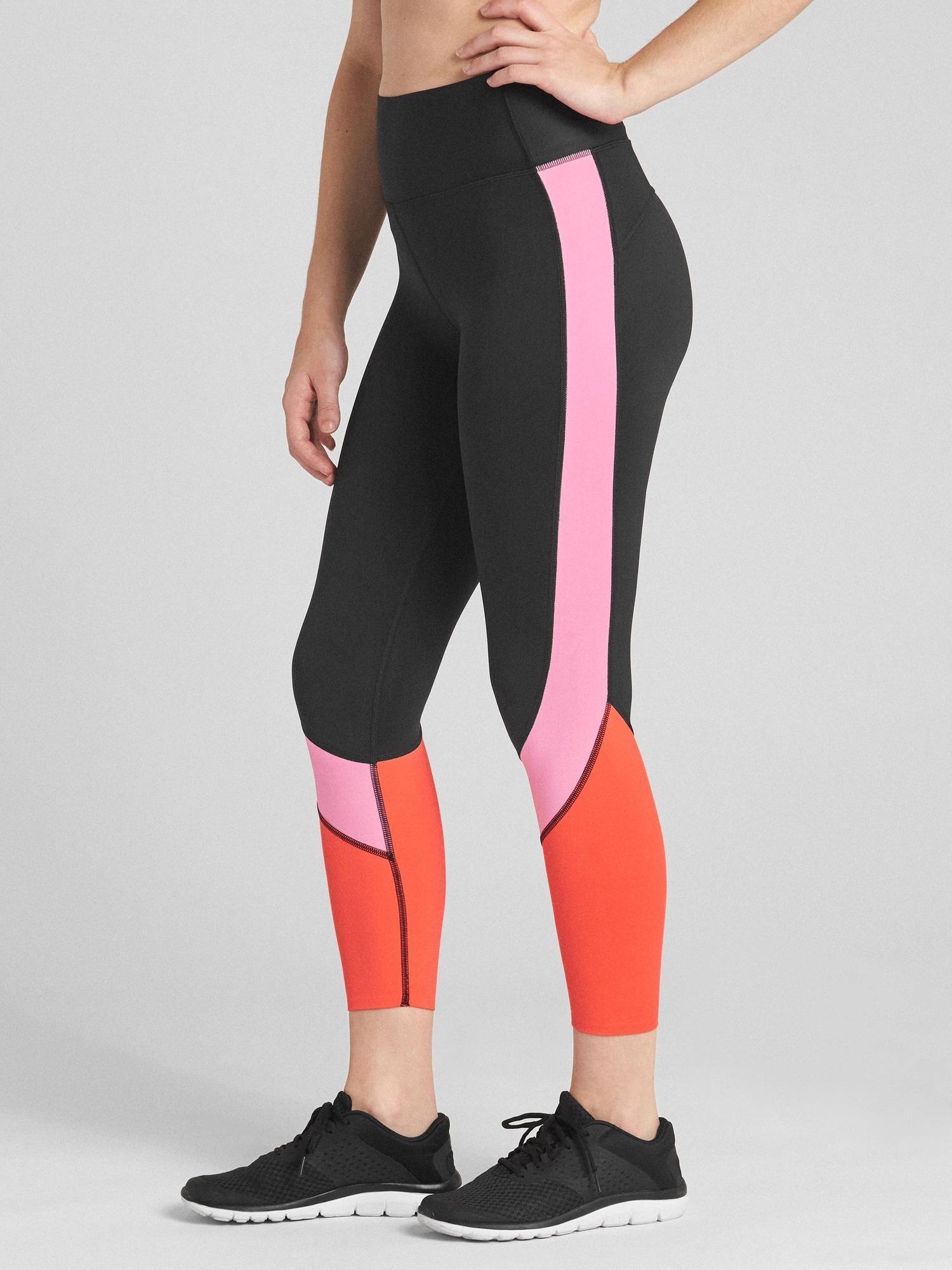7a39e9b08e169e Lyst - Gap Gfast High Rise Colorblock 7/8 Zone Leggings in Pink