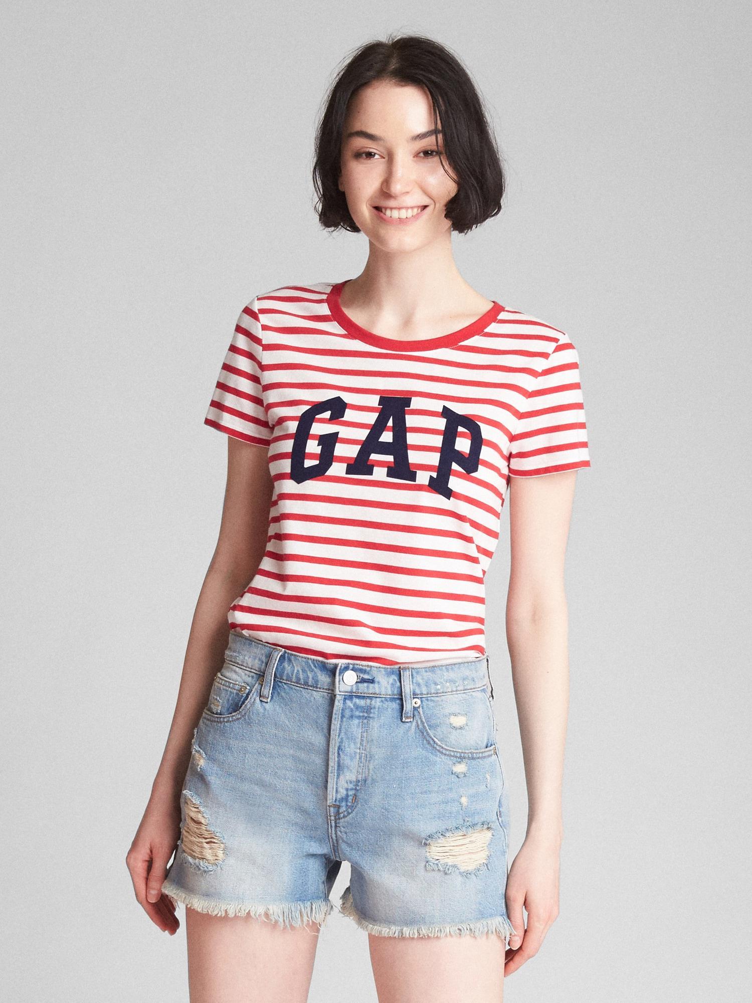 cae1c422 Gap Logo Stripe Crewneck T-shirt in Red - Lyst
