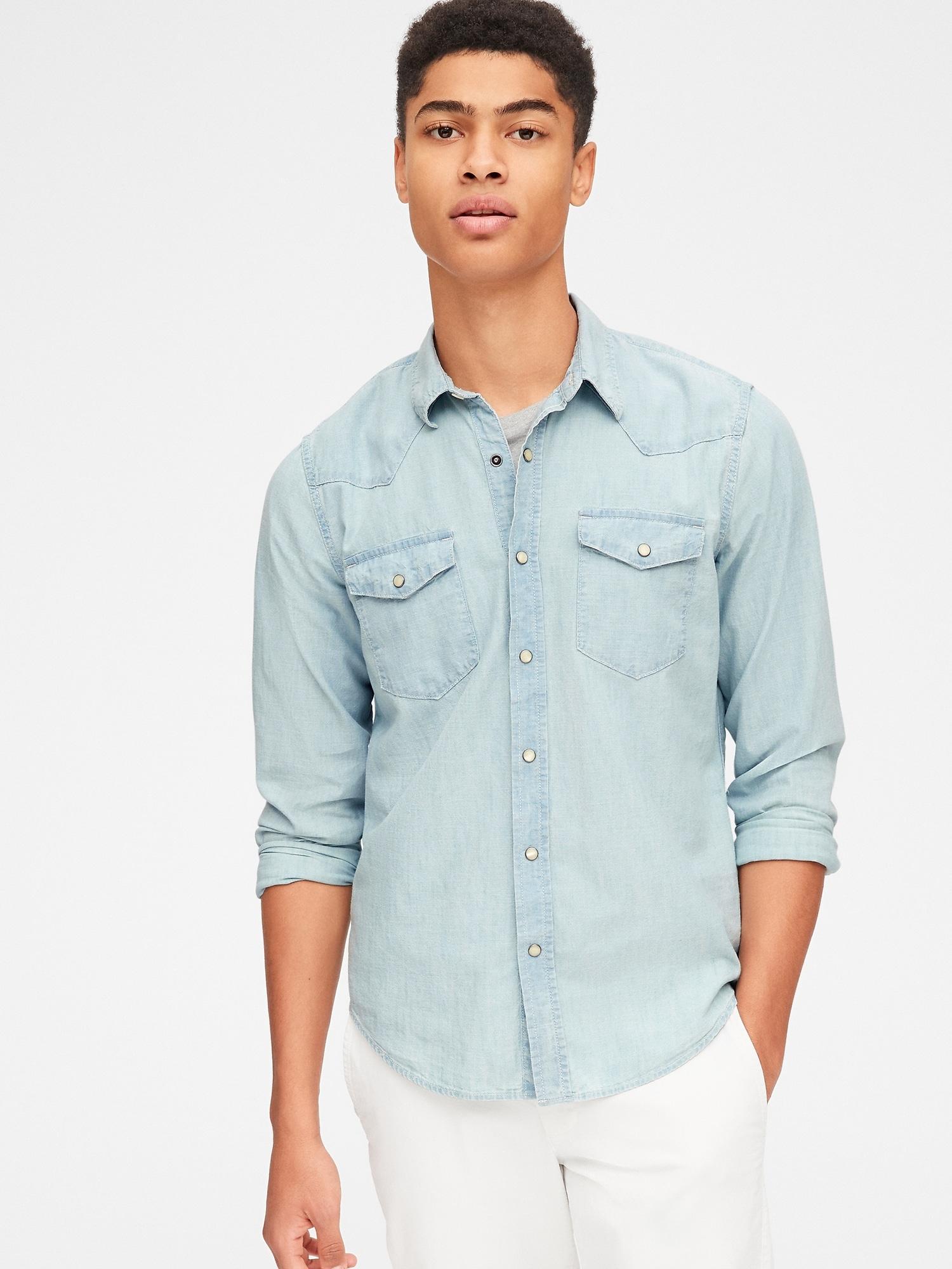 56dde22a390 Lyst - Gap Slim Fit Denim Western Shirt in Blue for Men
