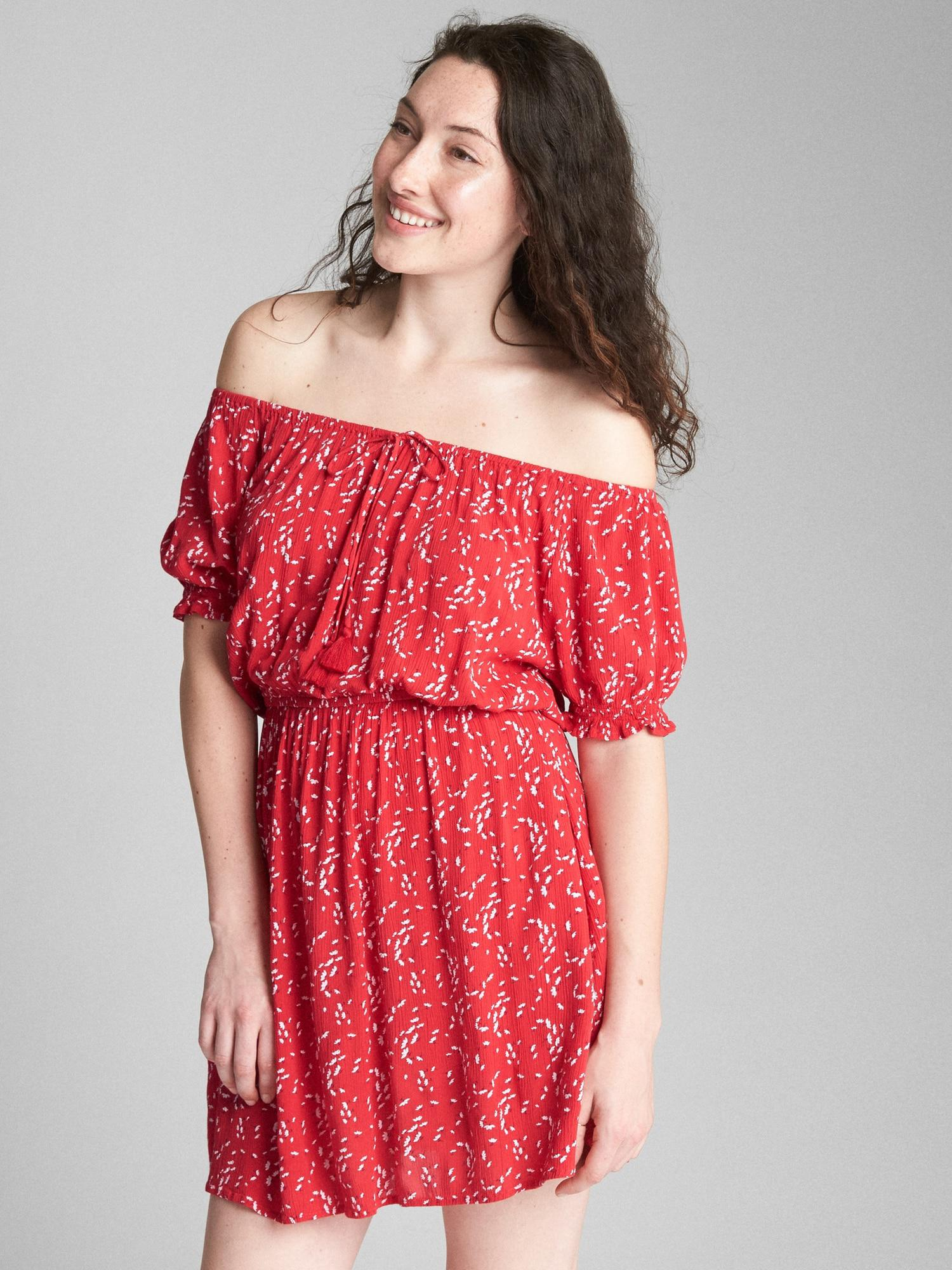 b0d6abfd8063 Lyst - Gap Off-shoulder Short Sleeve Floral Print Dress in Red