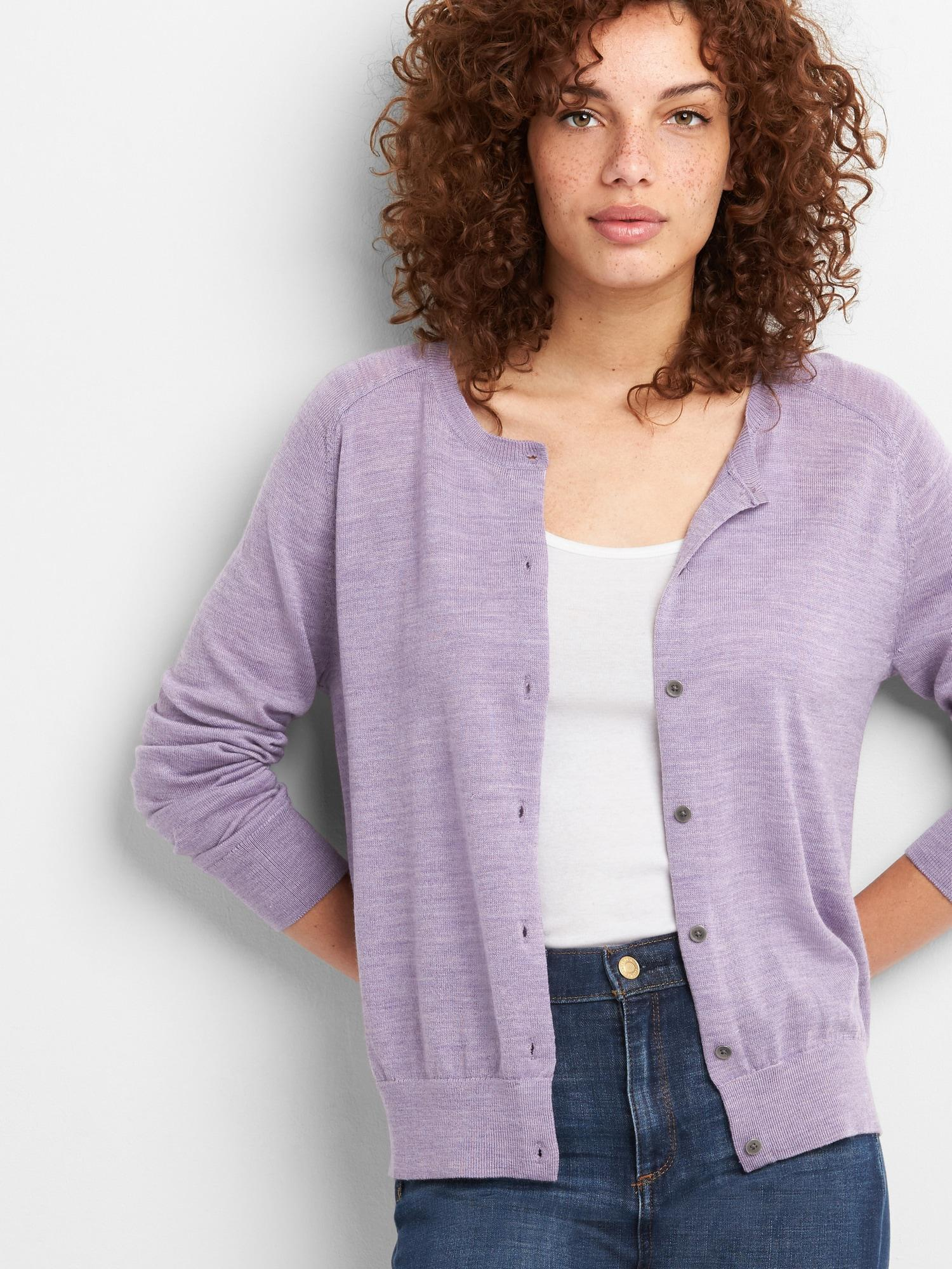a5ade18f83a1d7 Gap Crewneck Cardigan Sweater In Merino Wool in Purple - Lyst