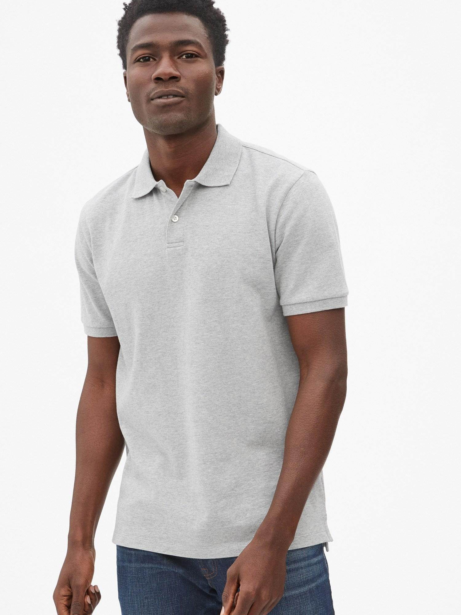 19b2ecfa7 Gap All Day Pique Polo Shirt in Gray for Men - Lyst