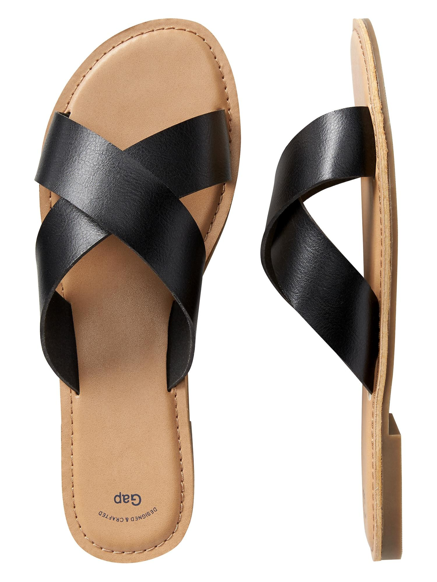 ce25344e9 Lyst - GAP Factory Slide Sandals In Faux Leather in Black