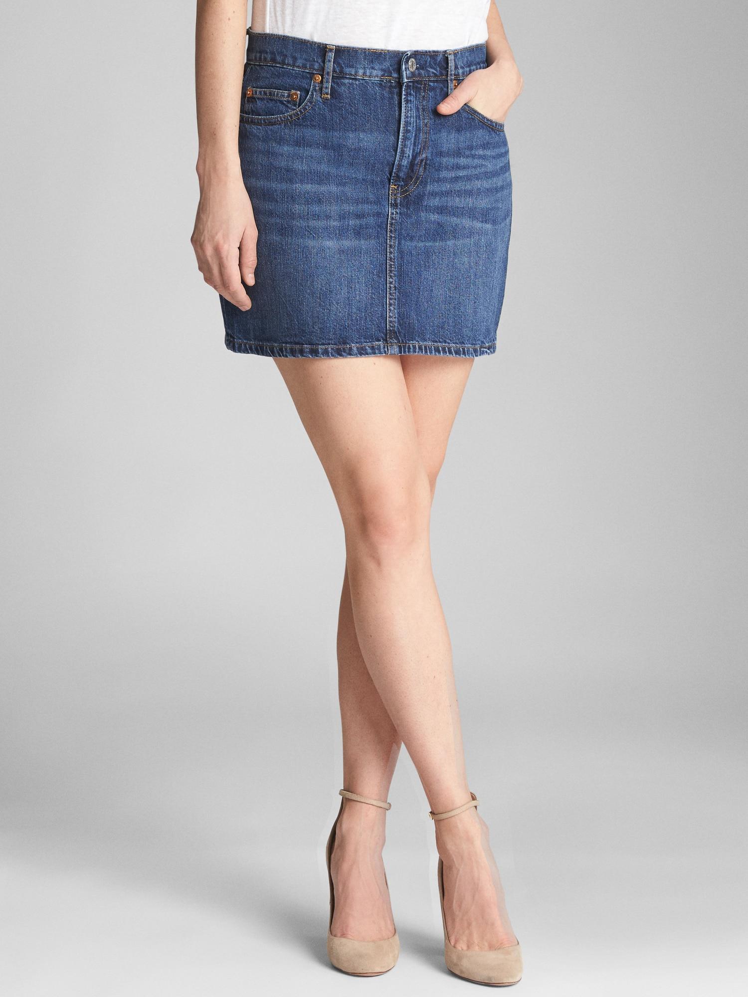874fd0ce68 GAP Factory 5-pocket Denim Mini Skirt in Blue - Lyst