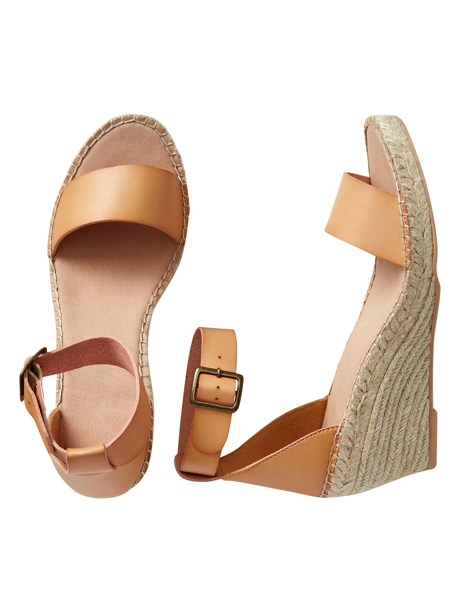 60e1f49e8c8 Lyst - GAP Factory Espadrille Wedge In Faux Leather in Brown