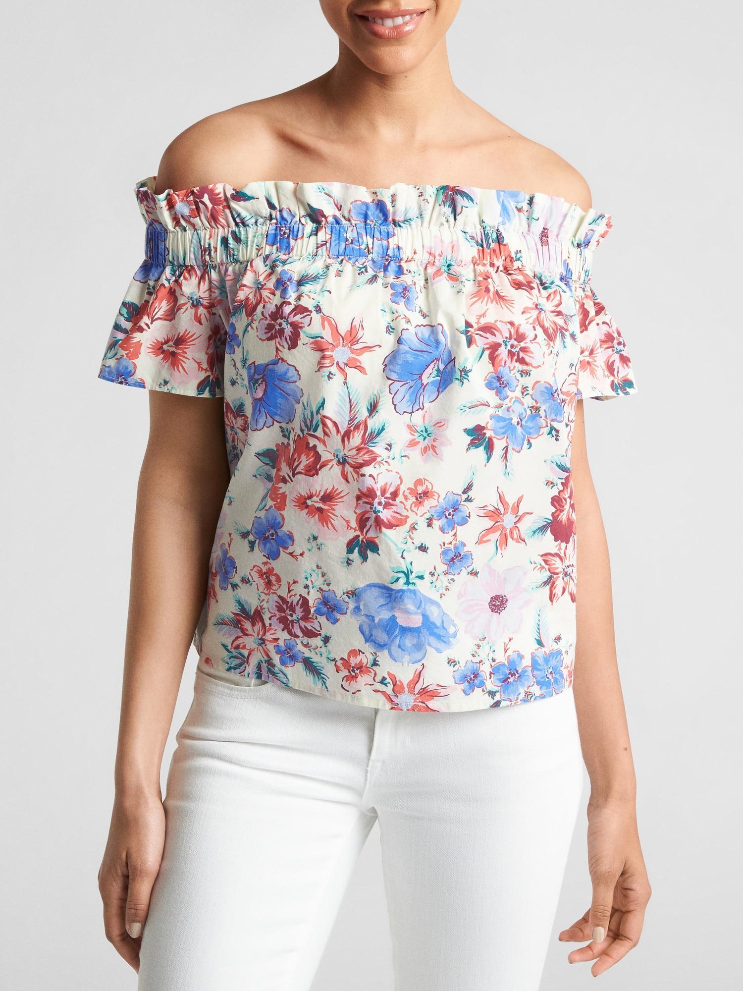 67e3f84ac90d9 Lyst - Gap Factory Print Short Sleeve Off-shoulder Top