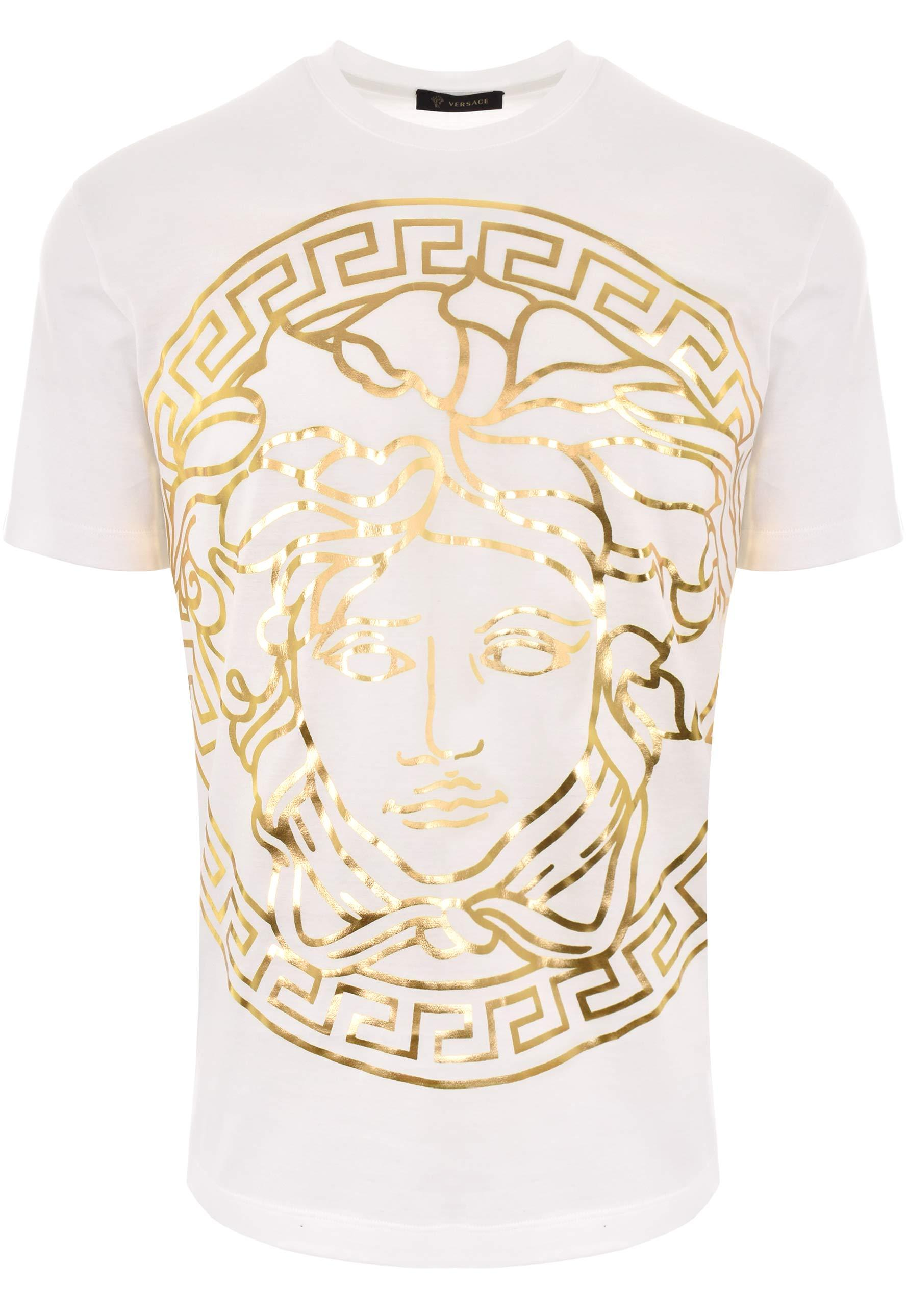 b461ac86 Versace Large Medusa Head Print T-shirt White/gold in White for Men ...