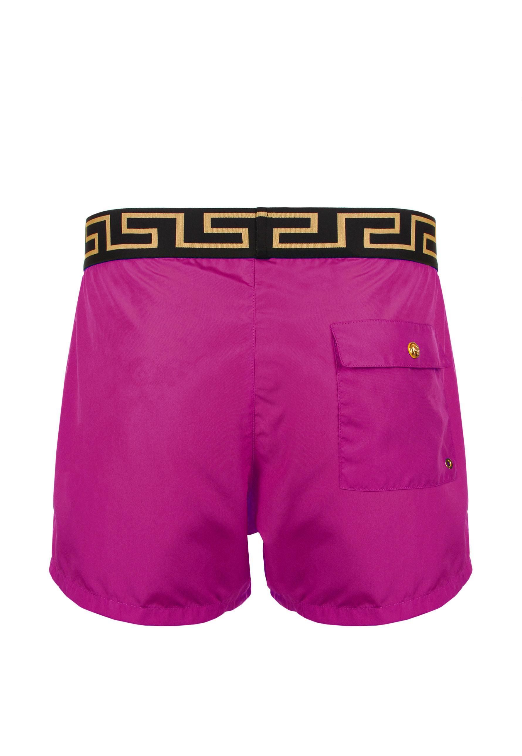 d0b8d67b88 Versace Iconic Greca Swimming Shorts Fuchsia in Purple for Men - Lyst