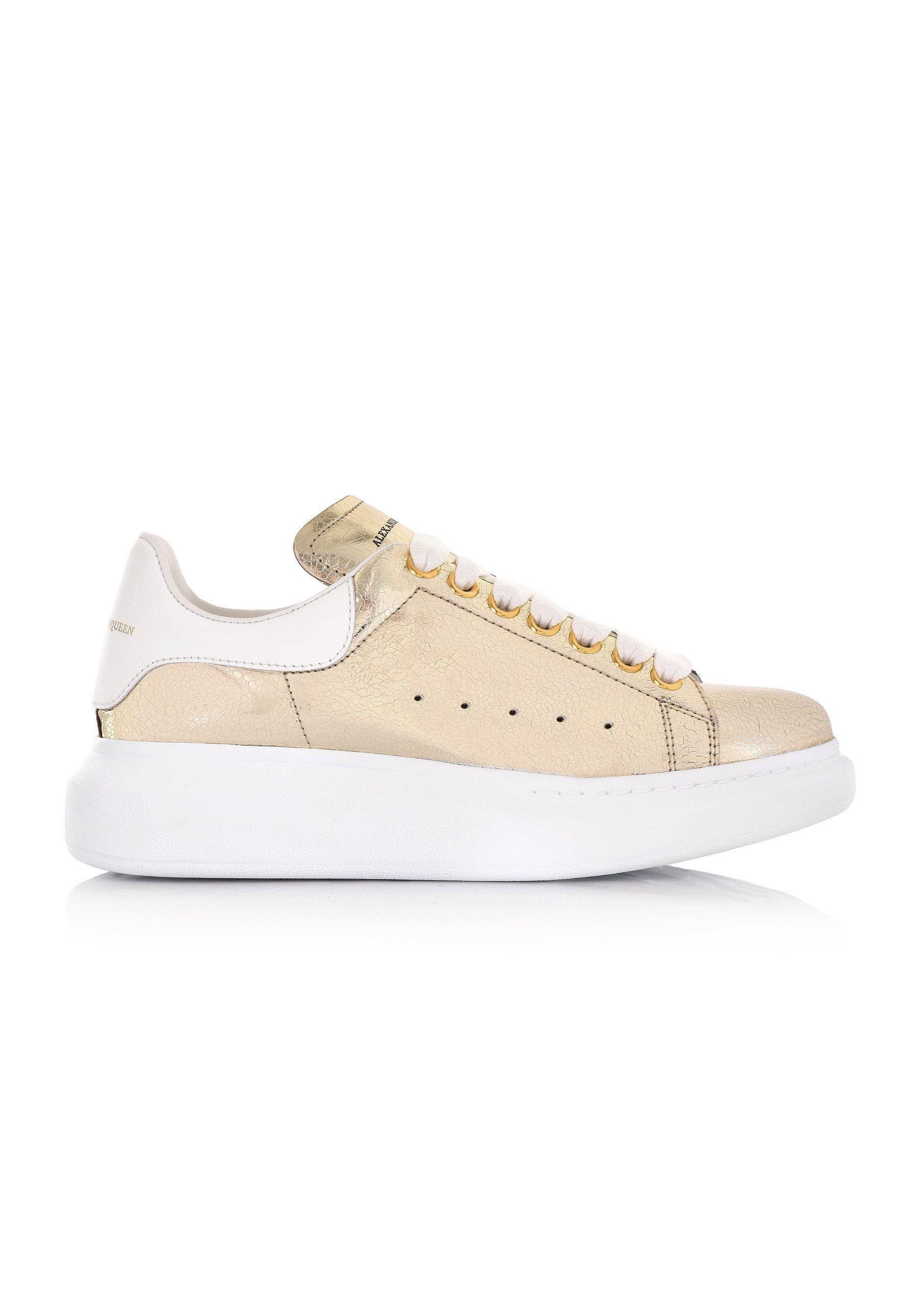 6545d2fa468e Lyst - Alexander McQueen Women s Metallic Oversized Sneaker Gold white