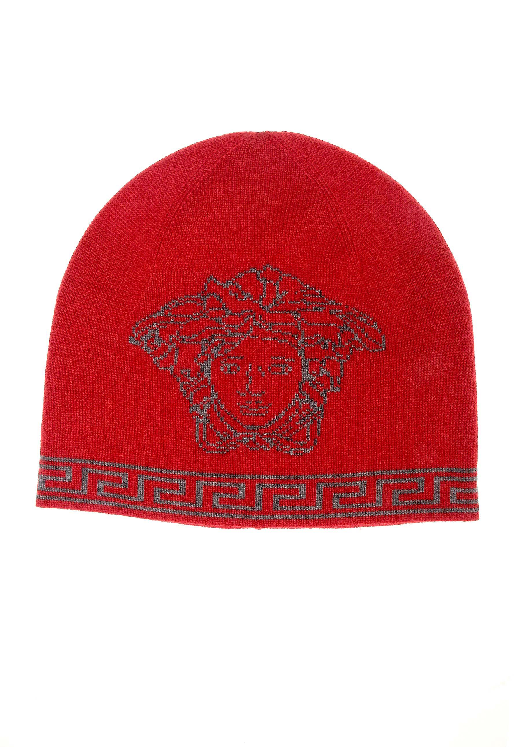 030e7011f2 Versace Medusa And Greca Jacquard Beanie Hat Red in Red for Men - Lyst