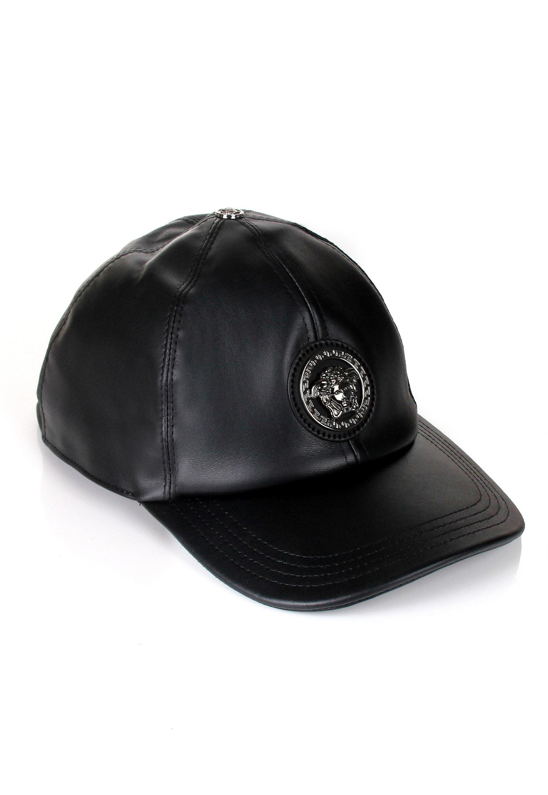 28bf91317f6 Lyst - Versace Medusa Leather Cap Black in Black for Men