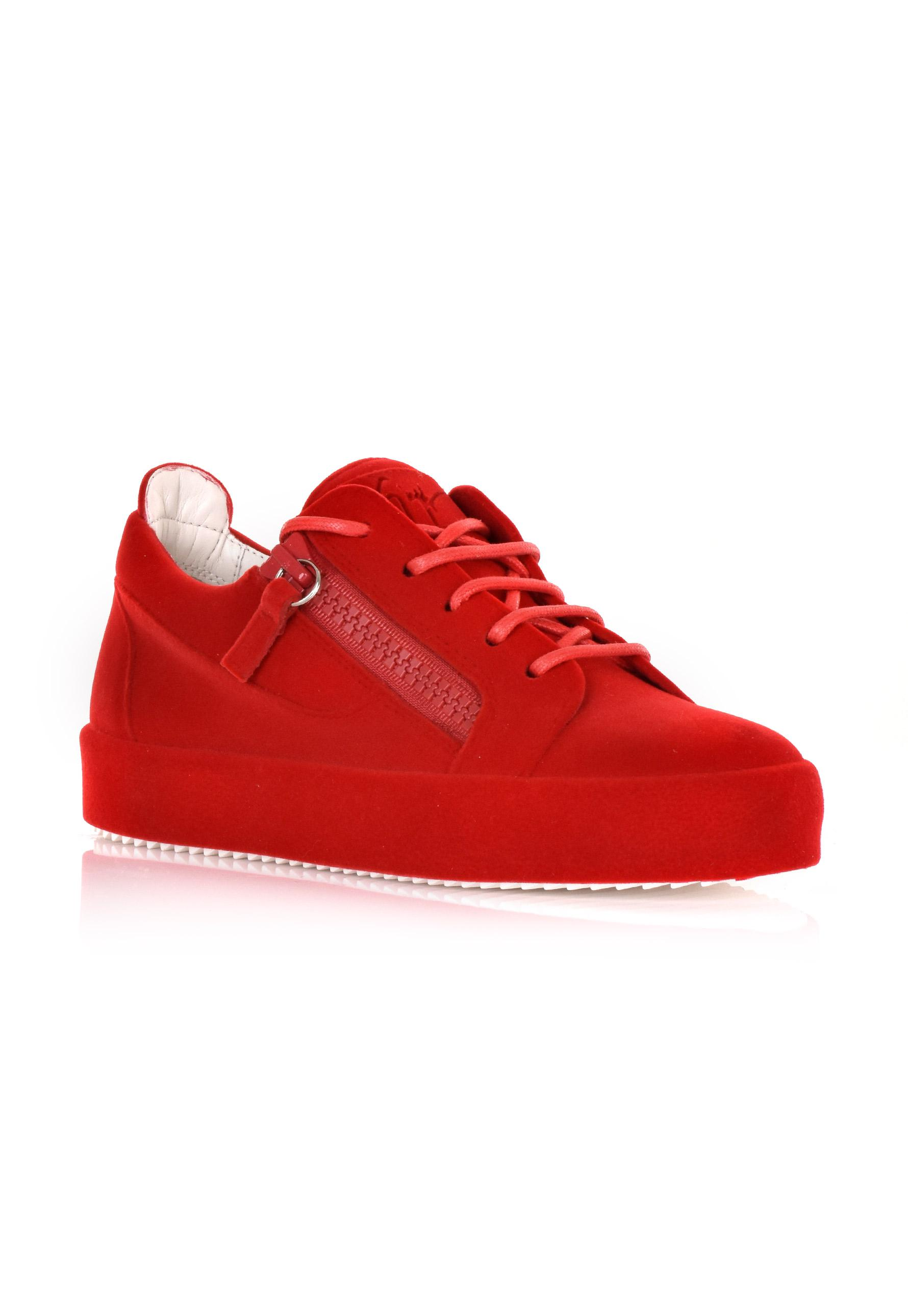 d5a76a07839f9 Giuseppe Zanotti Women's Lace Up Flocked Sneakers Red in Red for Men ...